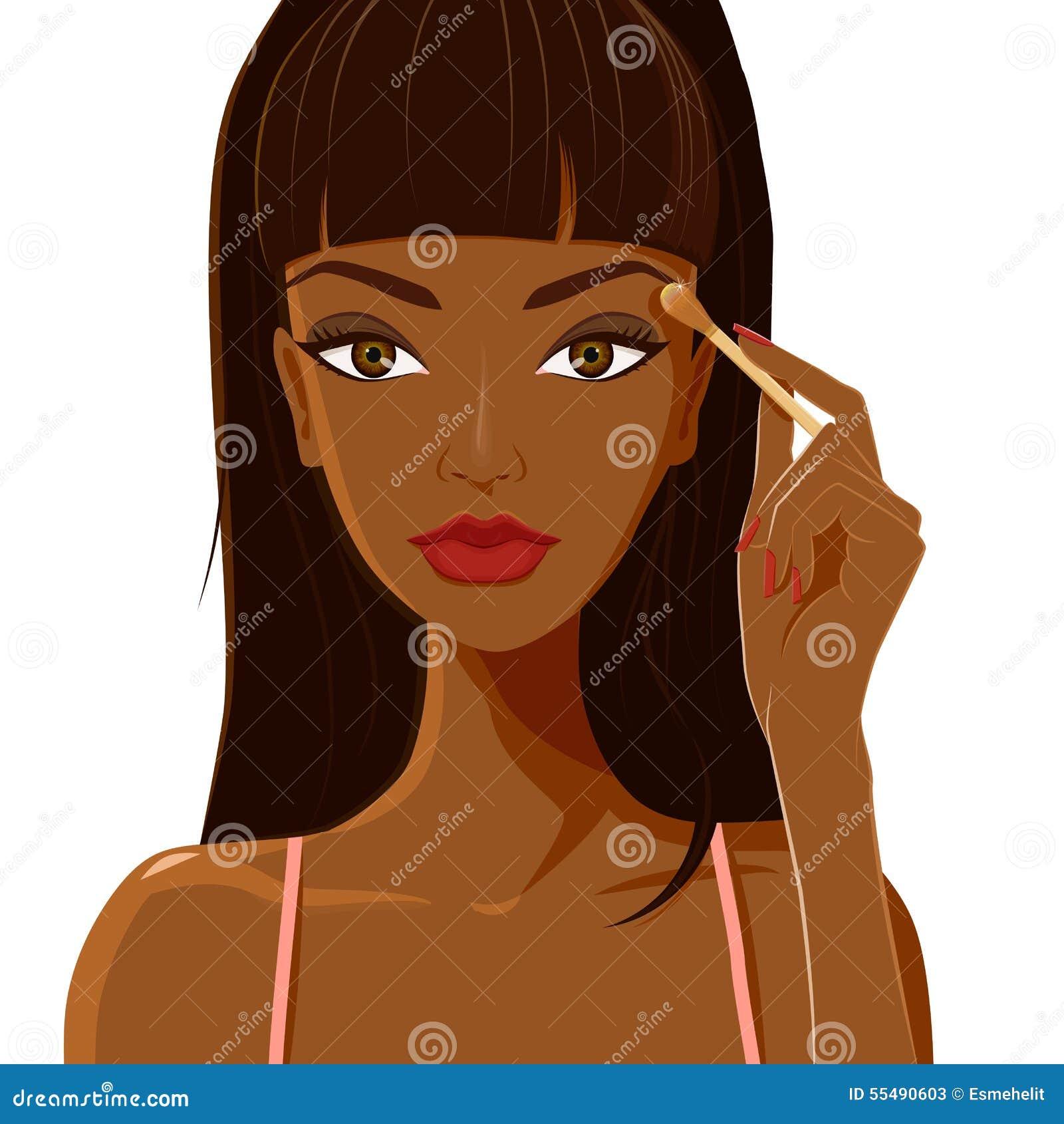 有应用眼影膏的黑暗的皮肤的可爱的妇女