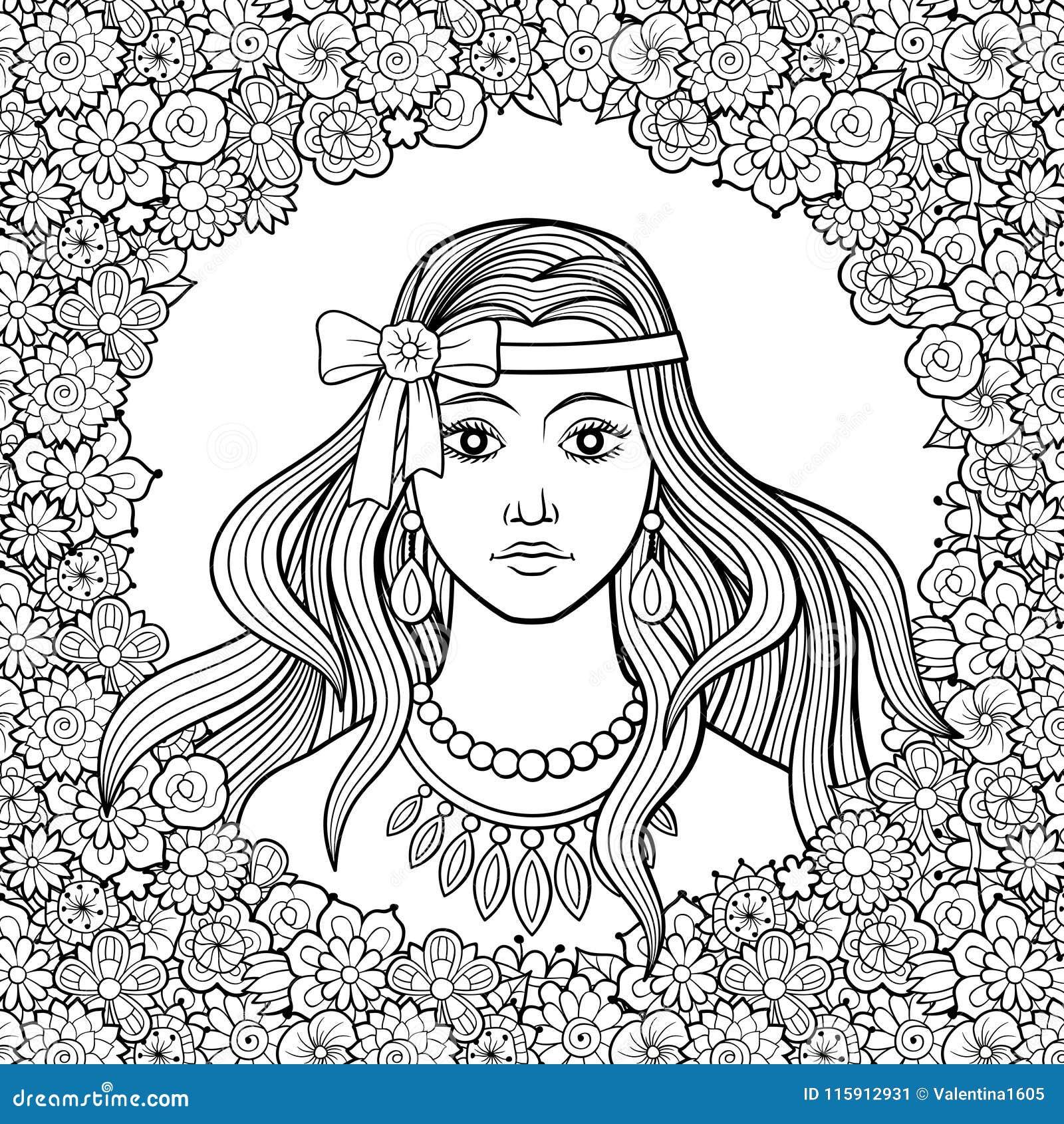 有弓的美丽的女孩在花卉框架