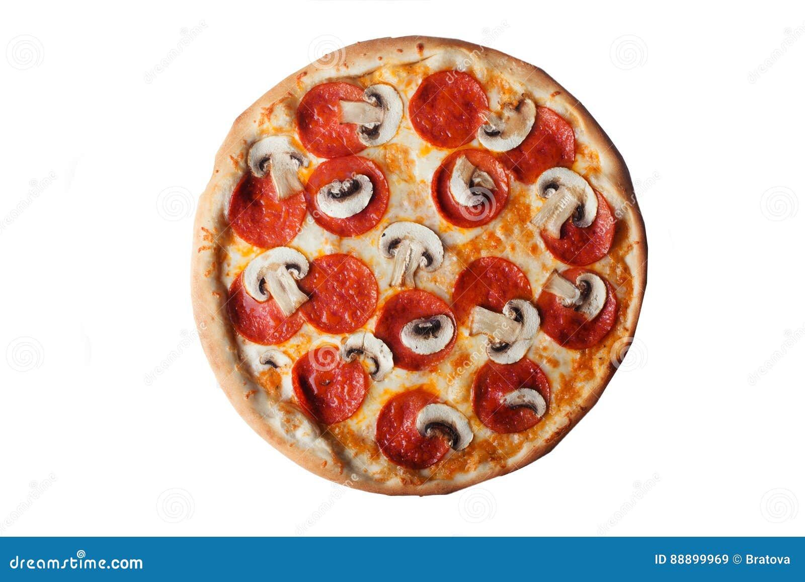 有意大利辣味香肠和蘑菇顶视图被隔绝的薄饼
