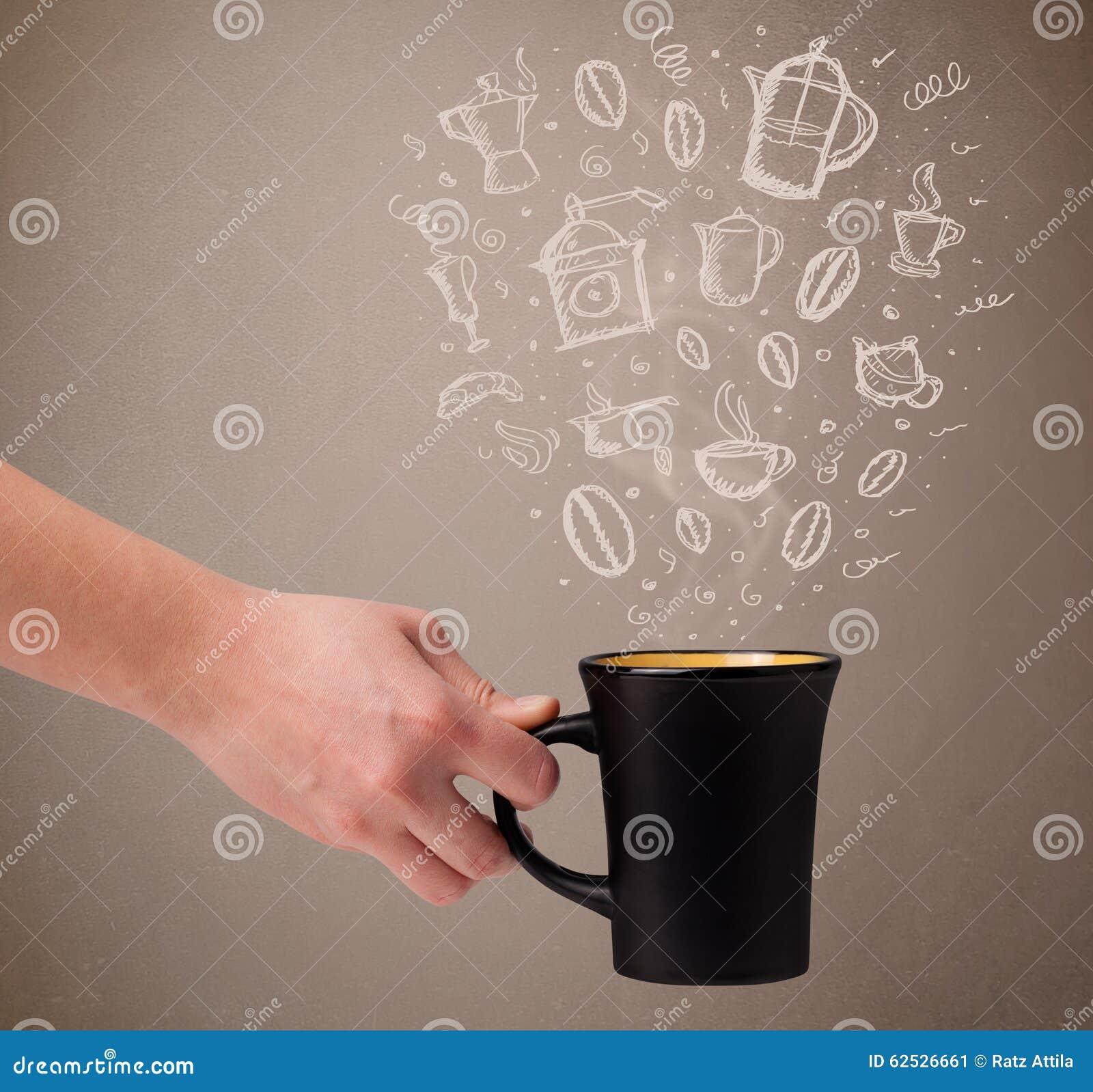 有手拉的厨房辅助部件的咖啡杯