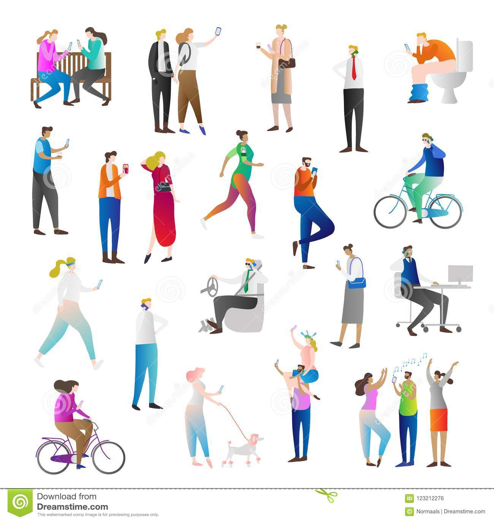 有手机传染媒介例证象汇集集合的人们 人拿着巧妙的电话谈话,聊天,传讯或者作为selfie