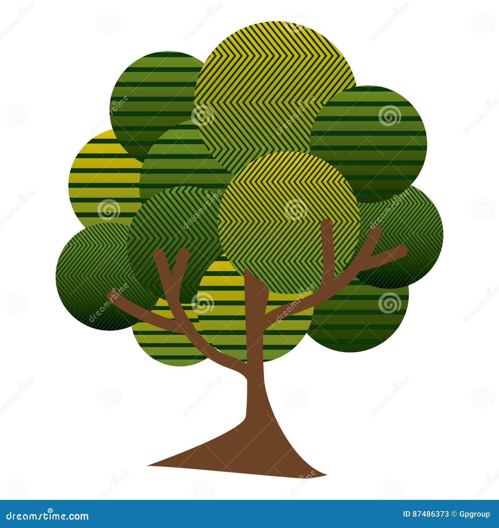 有抽象线和稀薄的树干的五颜六色的叶茂盛树植物