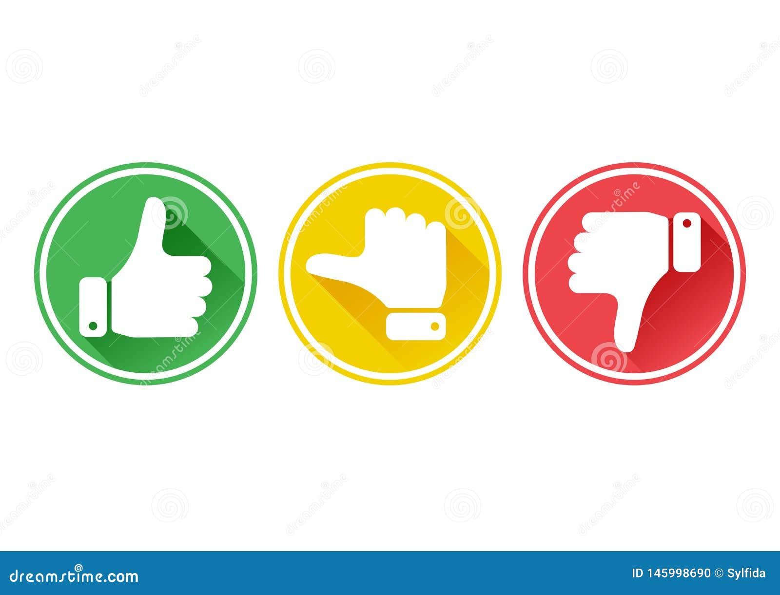 有拇指的手在绿色,黄色和红色按钮 ??