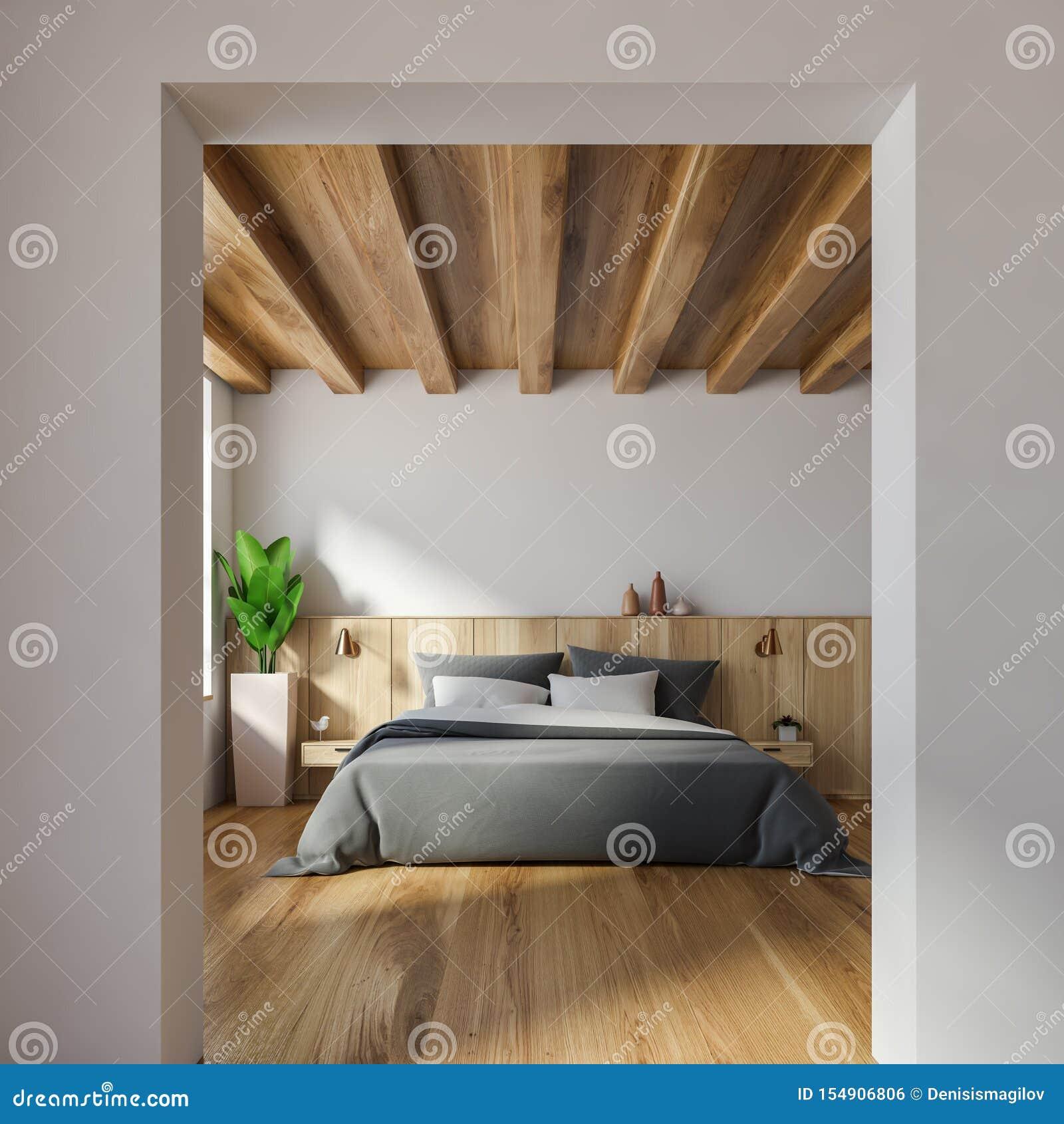有拱道的时髦的白色卧室