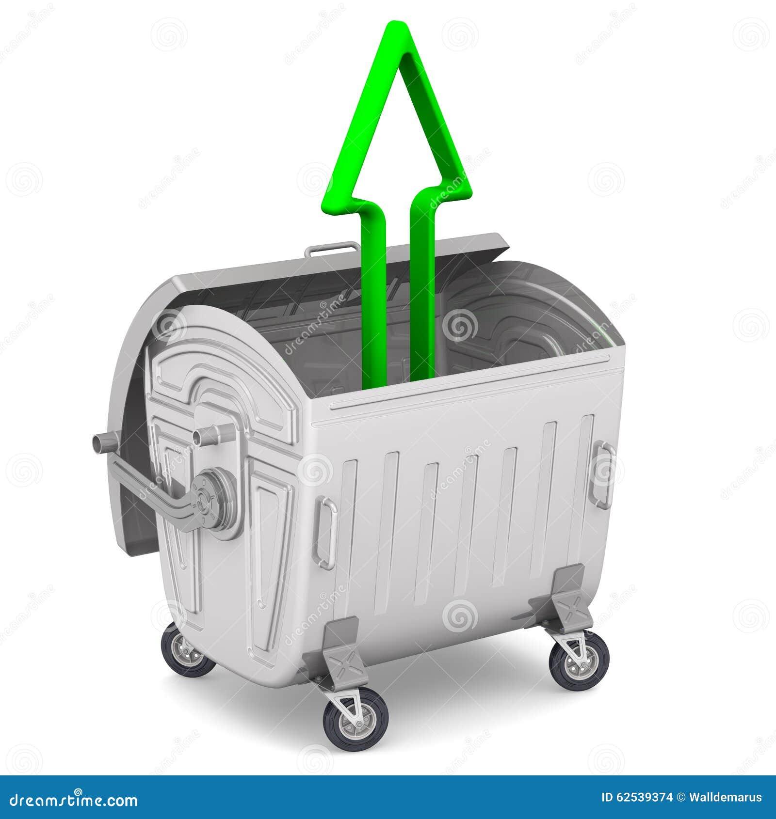 有指向向上的一个绿色箭头的开放垃圾容器