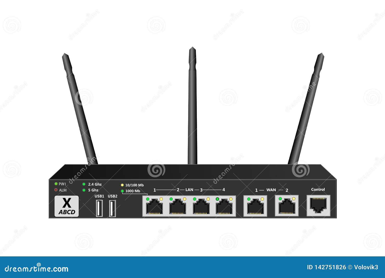 有控制口岸、2个WAN口岸4 LAN口岸和2个USB端口的双波段无线服务路由器 路由器有3个天线 黑col