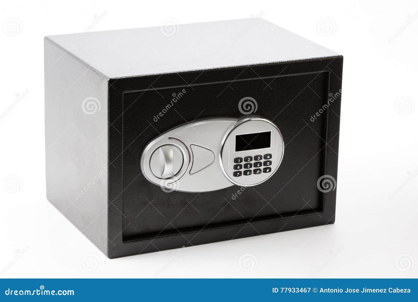 黑有数字小键盘的金属安全箱子锁了系统