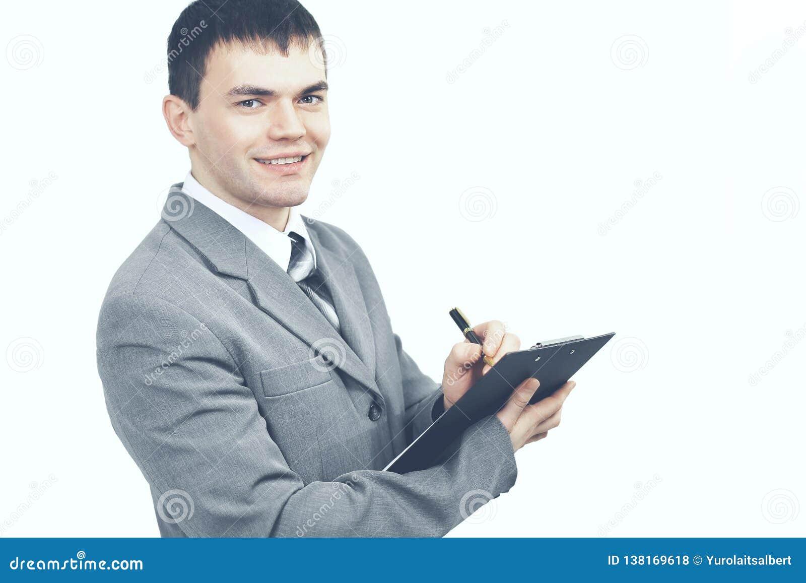 有文件的负责任的管理员在白色背景