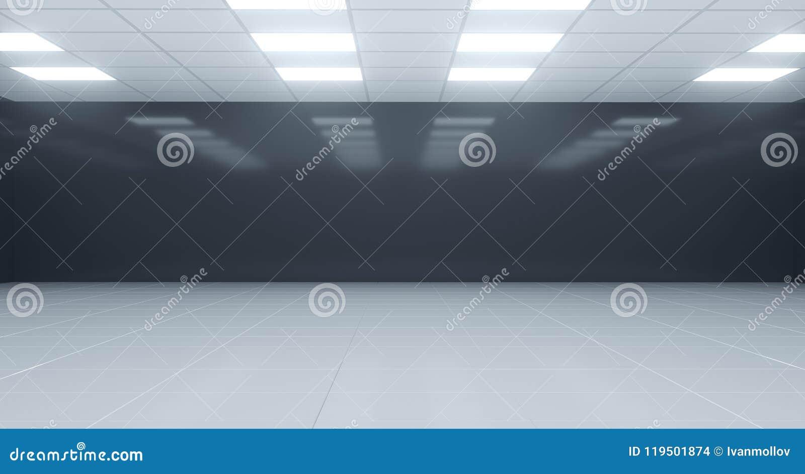 有方形的光的特写镜头黑白空的室在天花板