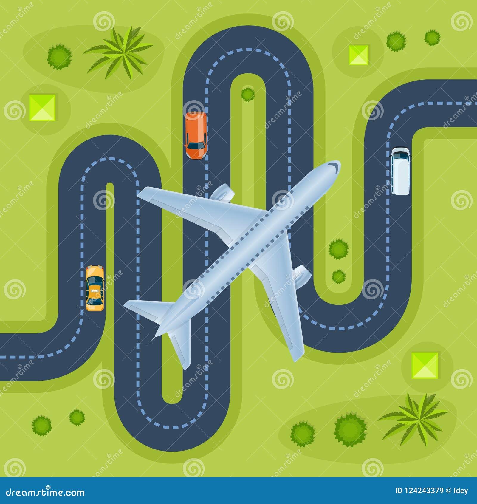 有旅行的运输的,周围的风景路,飞行飞机