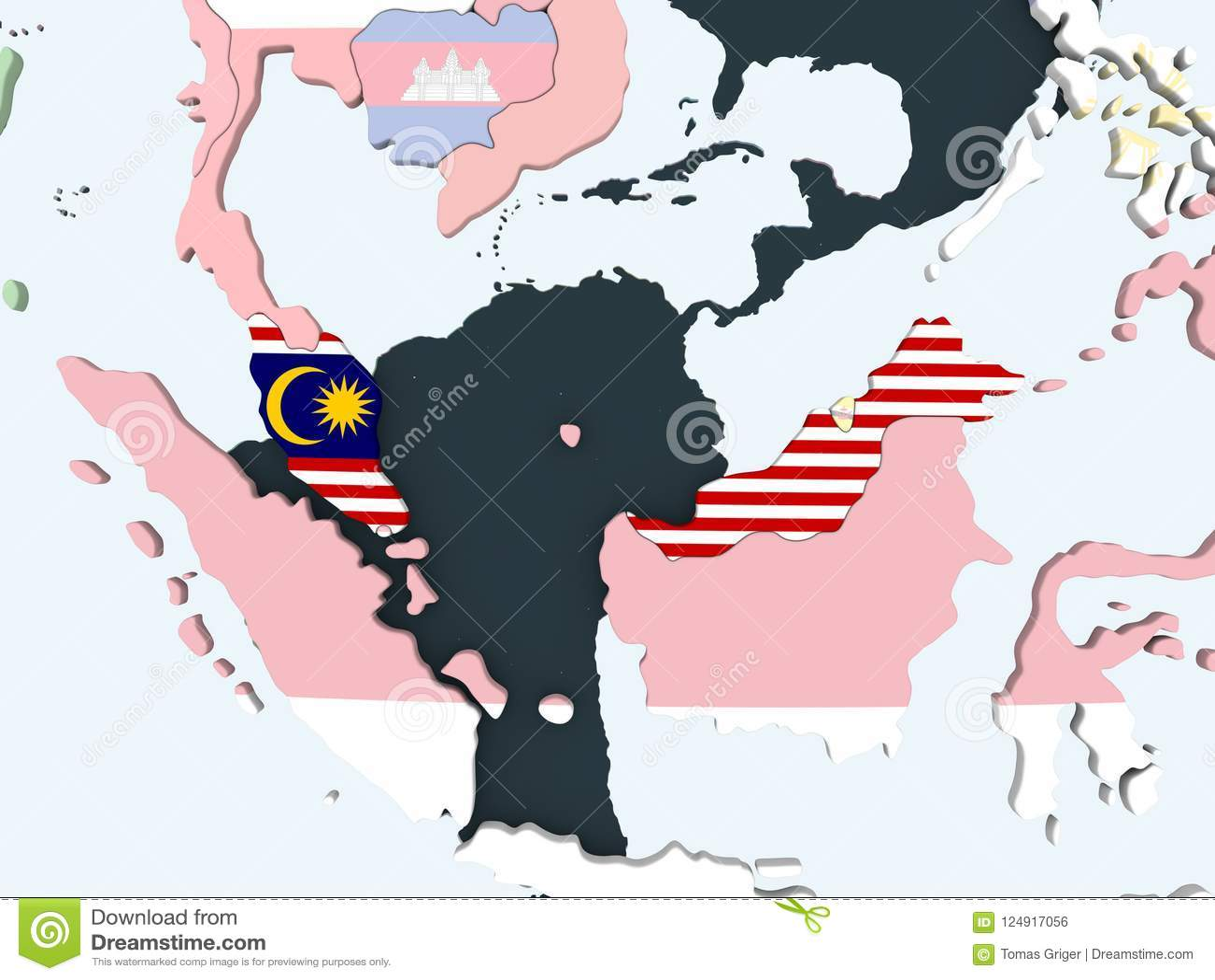 有旗子的马来西亚在地球
