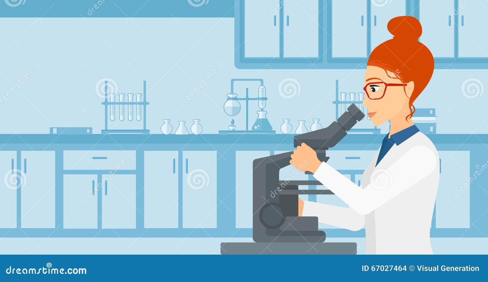 实验_看通过在实验室传染媒介平的设计例证背景的一个显微镜的妇女 水平的