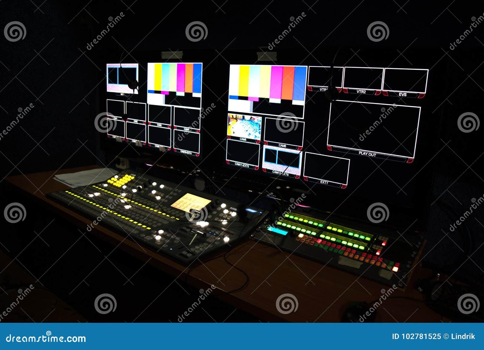 有显示器的流动电视演播室摄制的显示