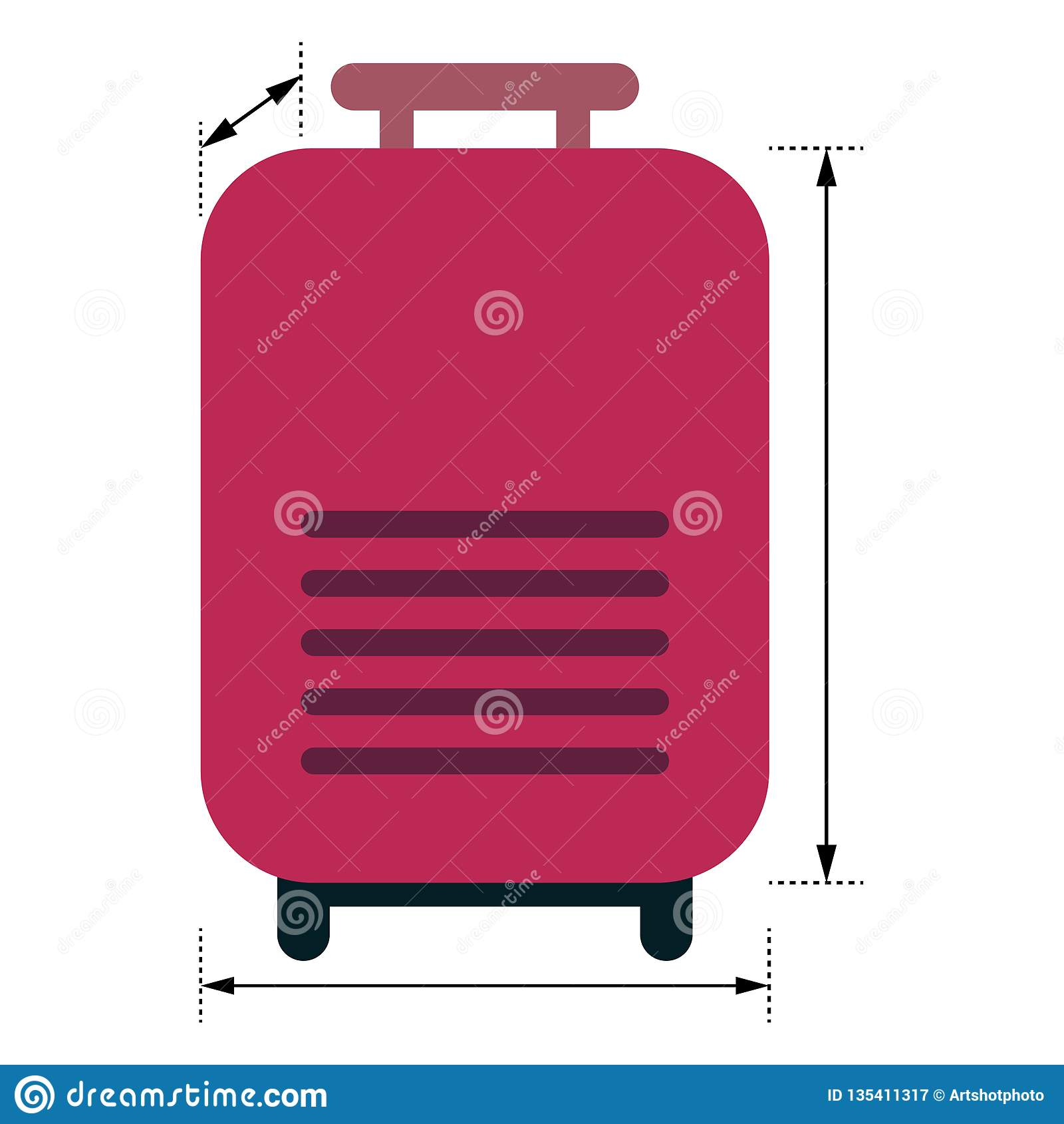 有显示维度的箭头的红色行李