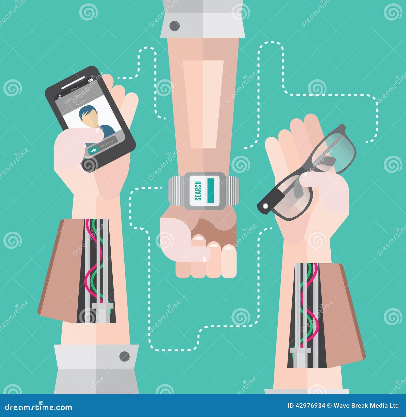 有智能手机和巧妙的手表的机器人胳膊