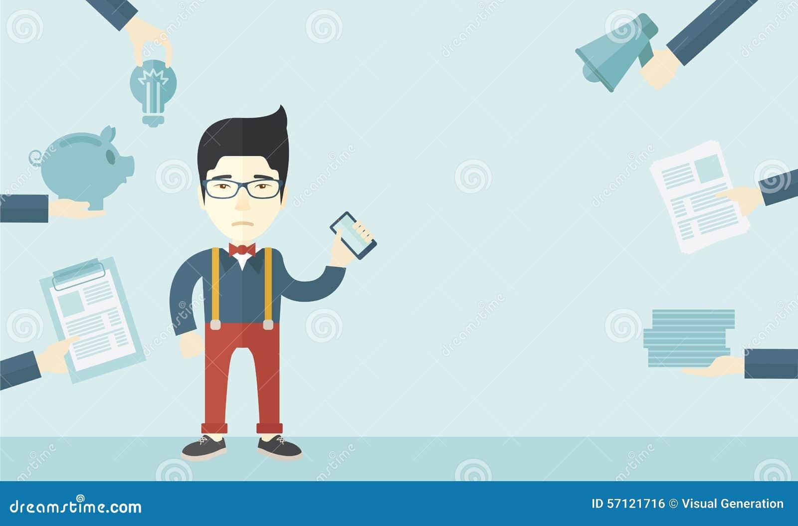 有智能手机的日本人在手中图片