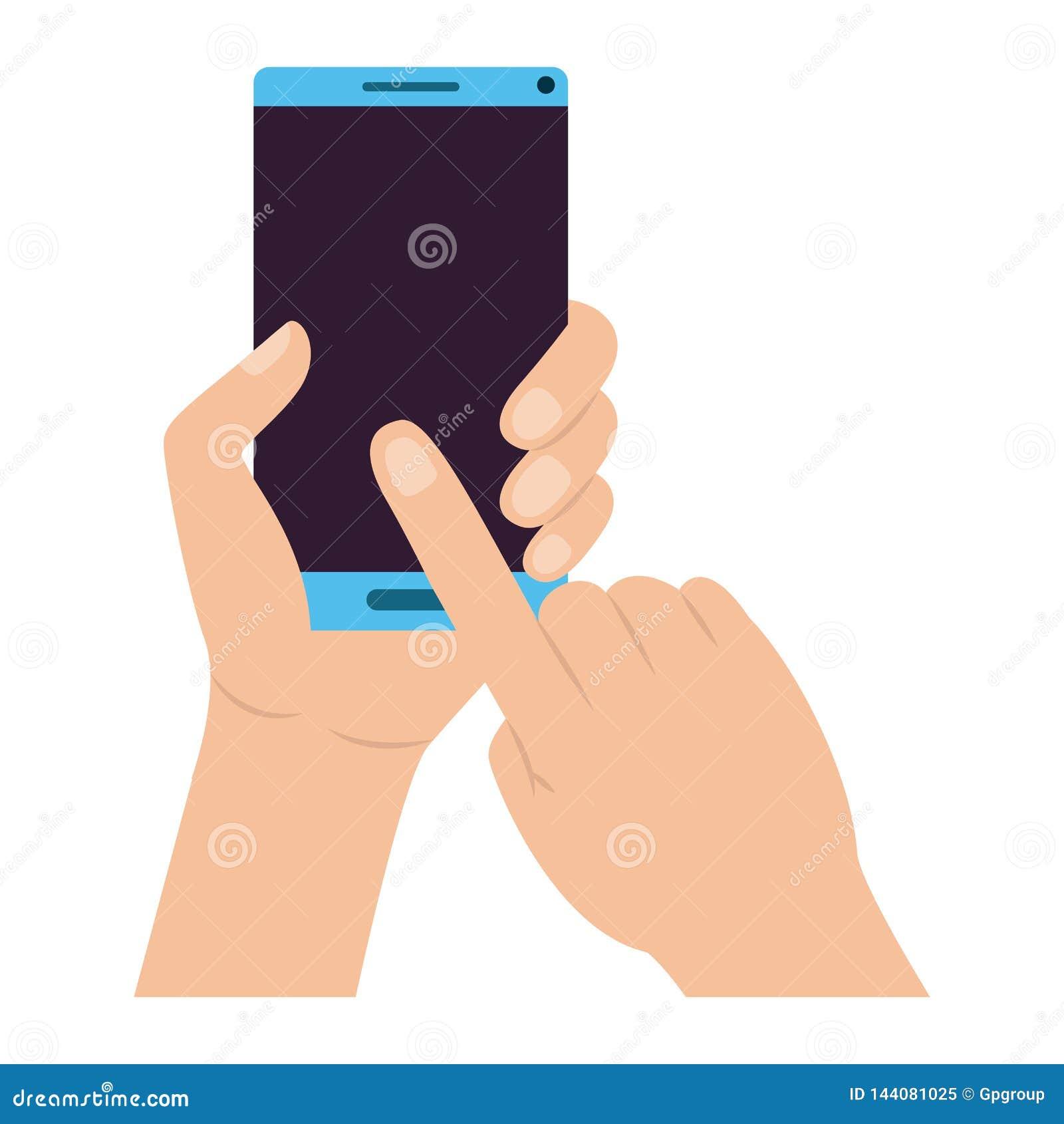 有智能手机设备的手