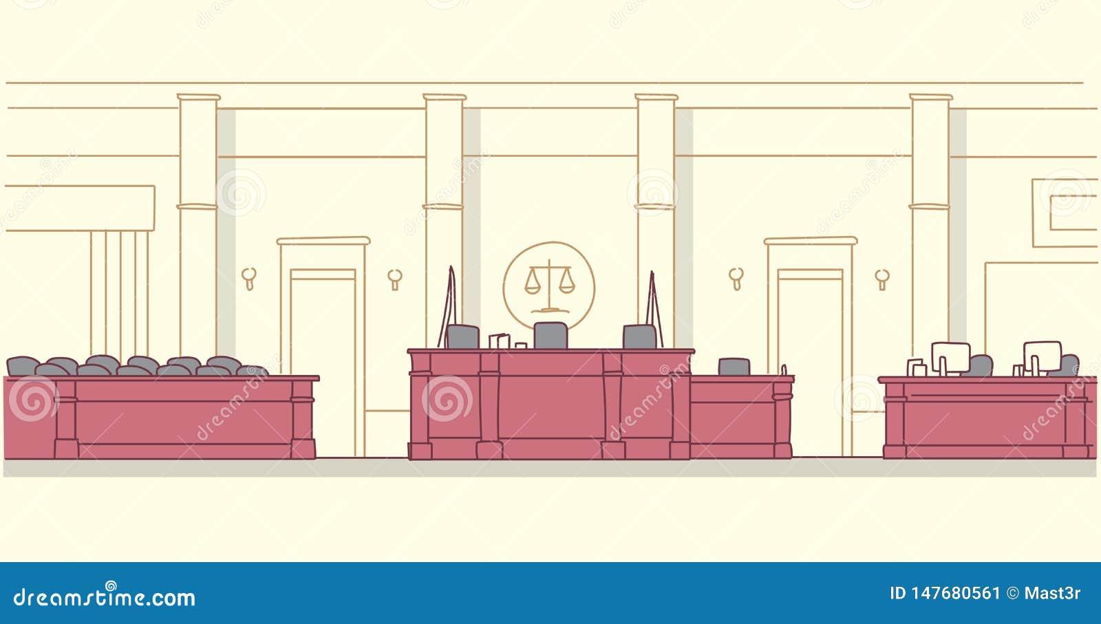 有木家具法官和秘书工作场所陪审团位子现代法院大楼内部正义的空的法庭