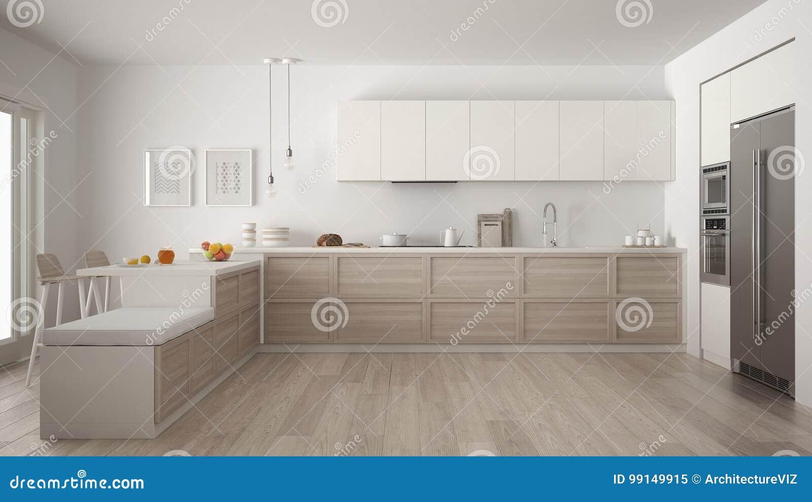 有木细节和镶花地板的, mi经典现代厨房
