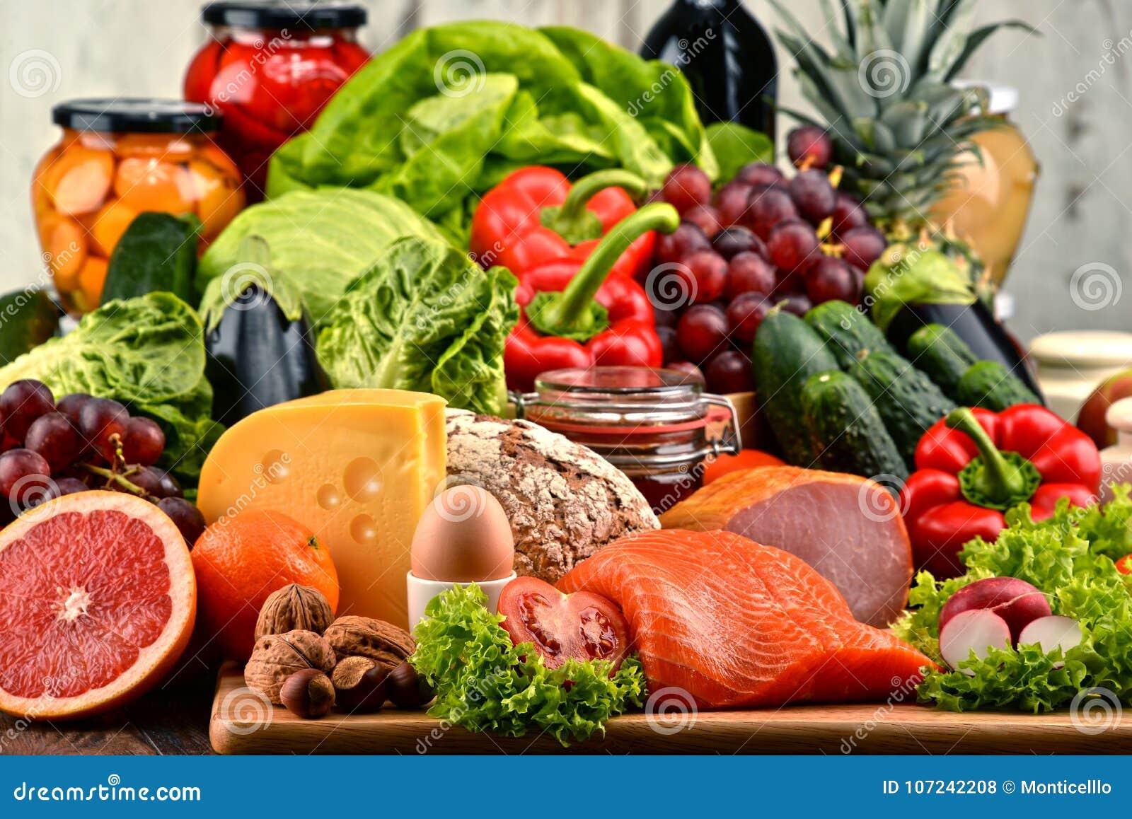 有机食品包括菜果子面包牛奶店和肉