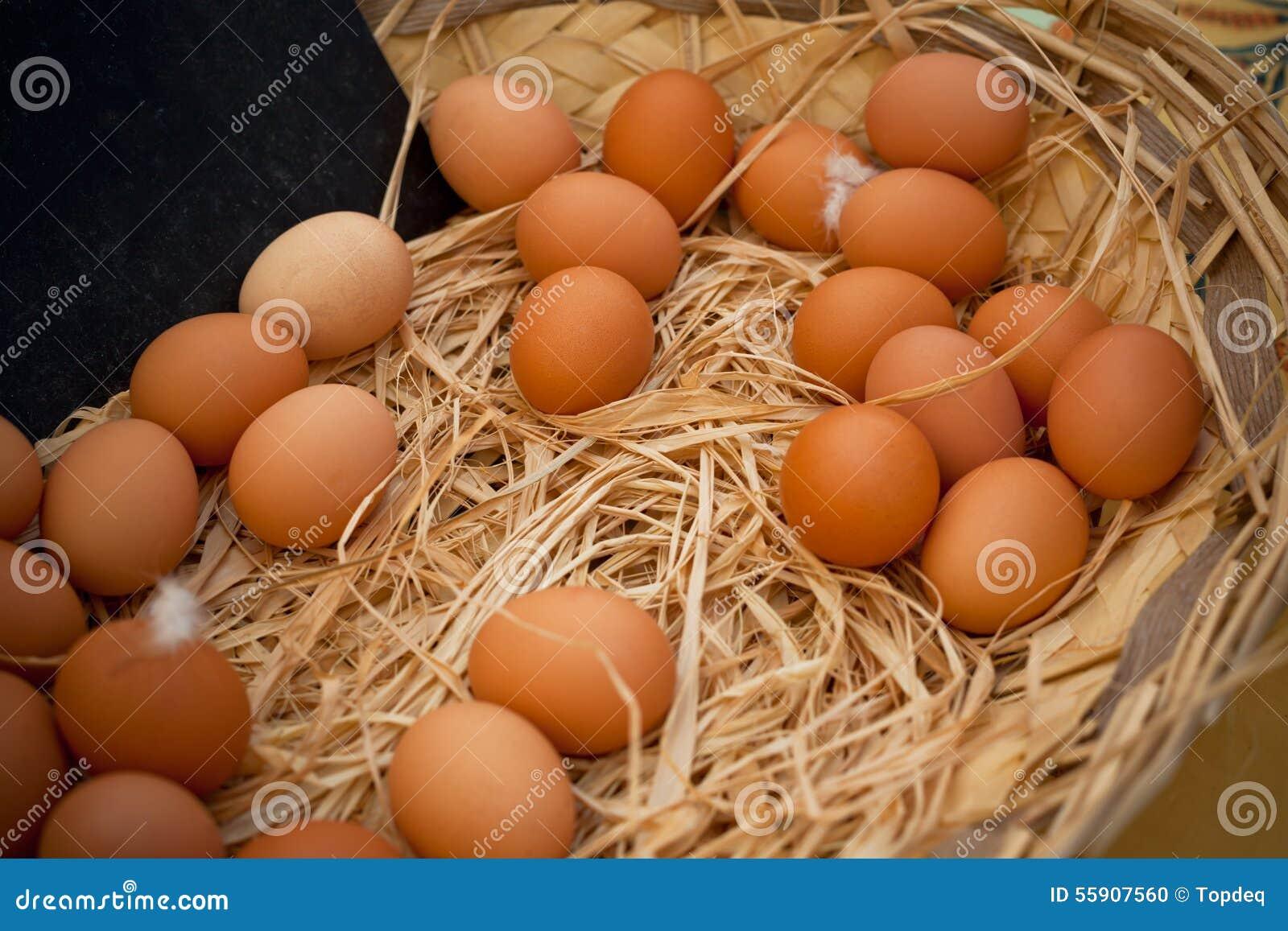 有机鸡蛋篮子在一个农村农夫市场上