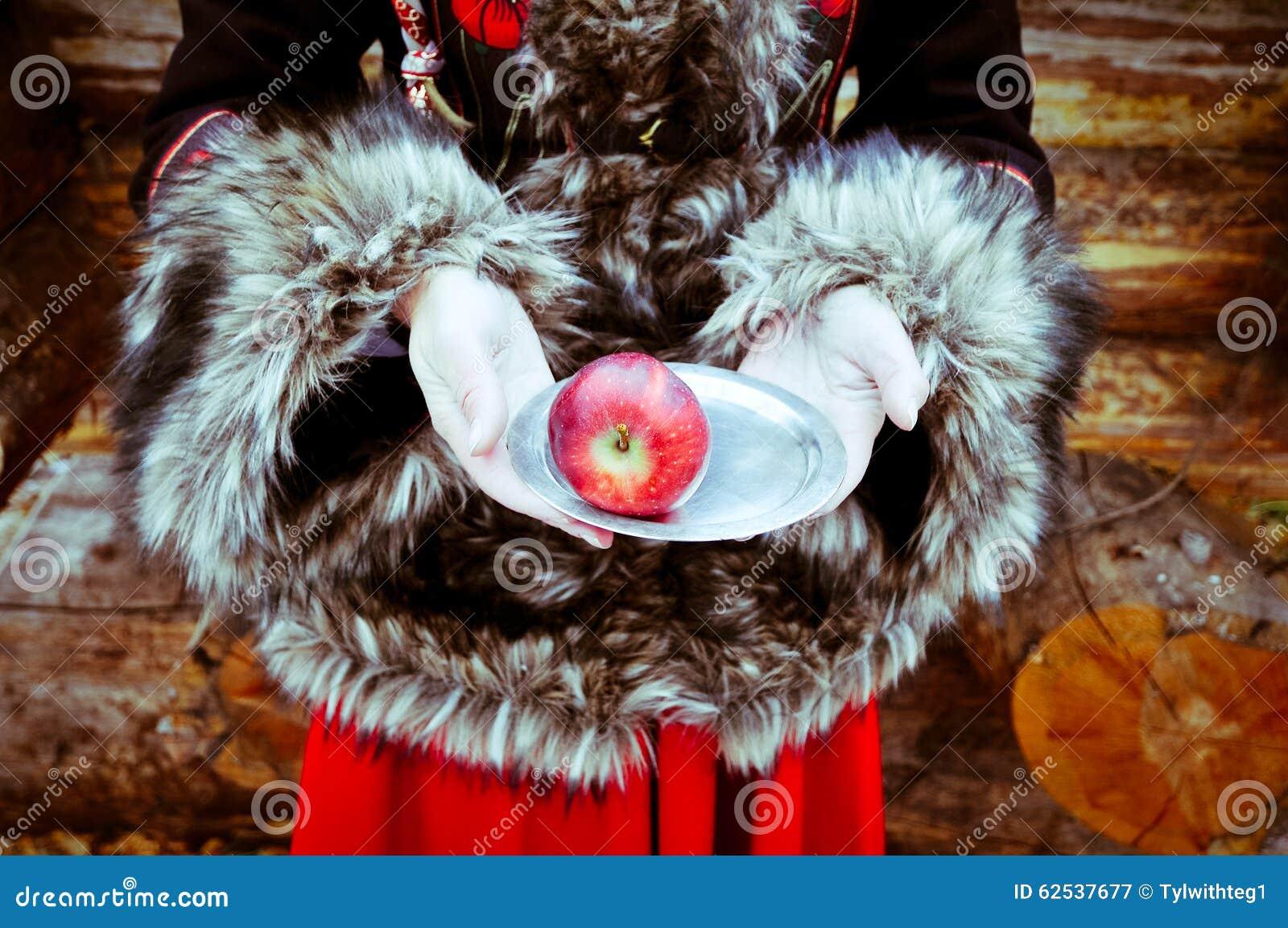 有板材和苹果冬天童话的妇女手