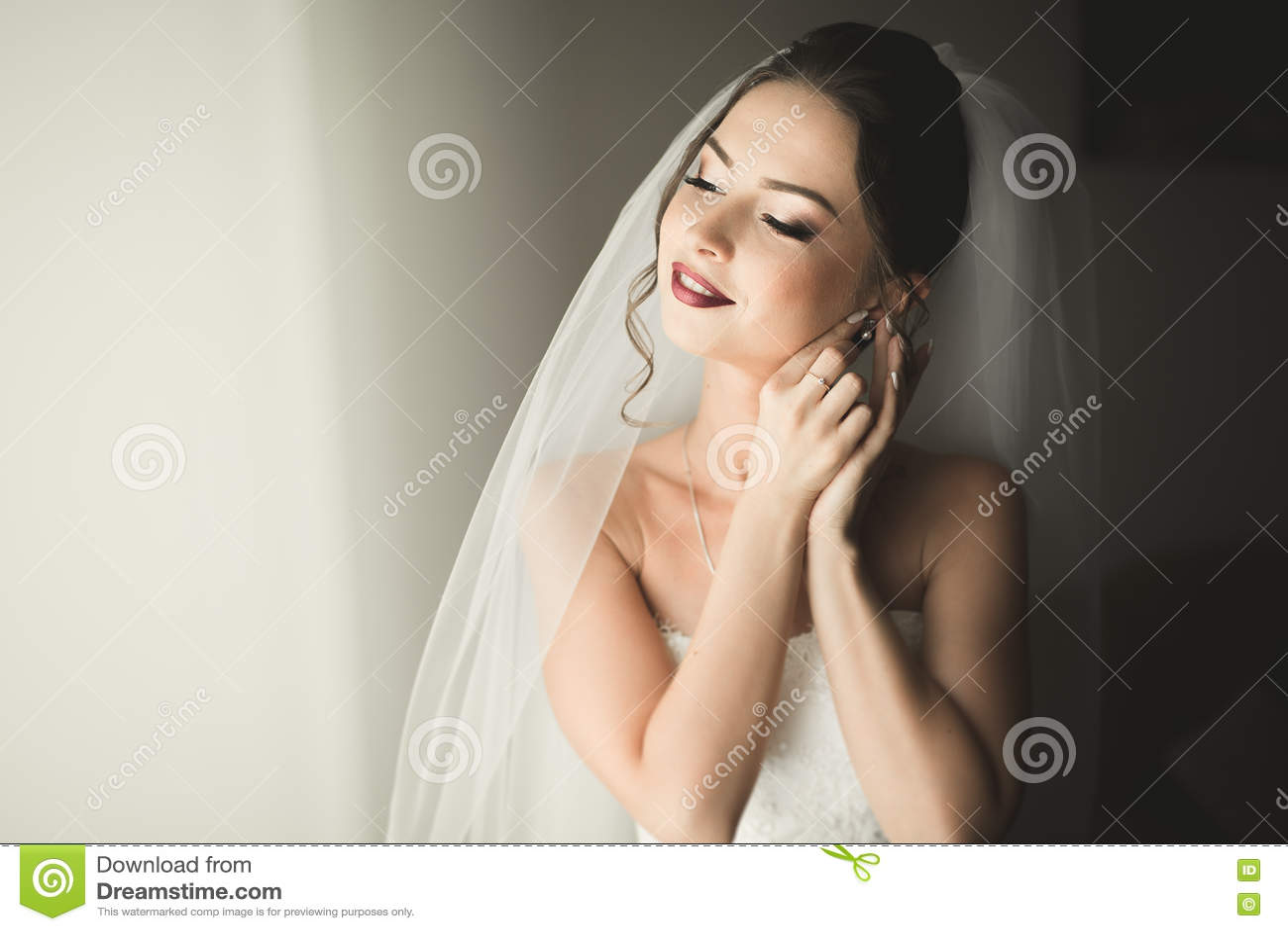 有构成和发型的美丽的年轻新娘在卧室,婚姻的新婚佳偶妇女最后的准备 愉快的女孩
