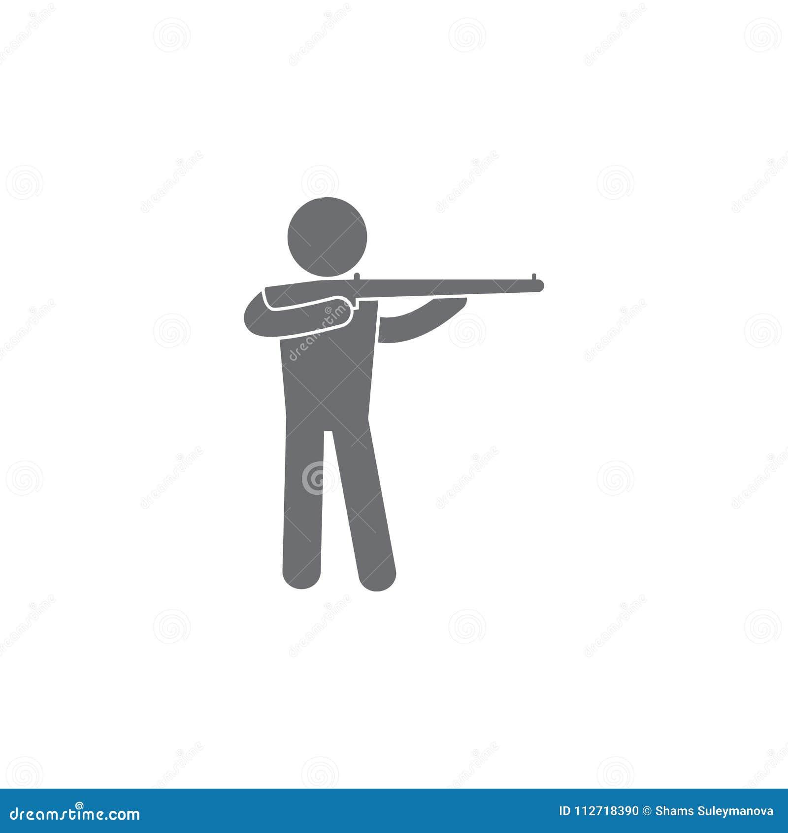 有枪象的人 简单的元素例证 有枪标志设计模板的人 能为网和机动性使用