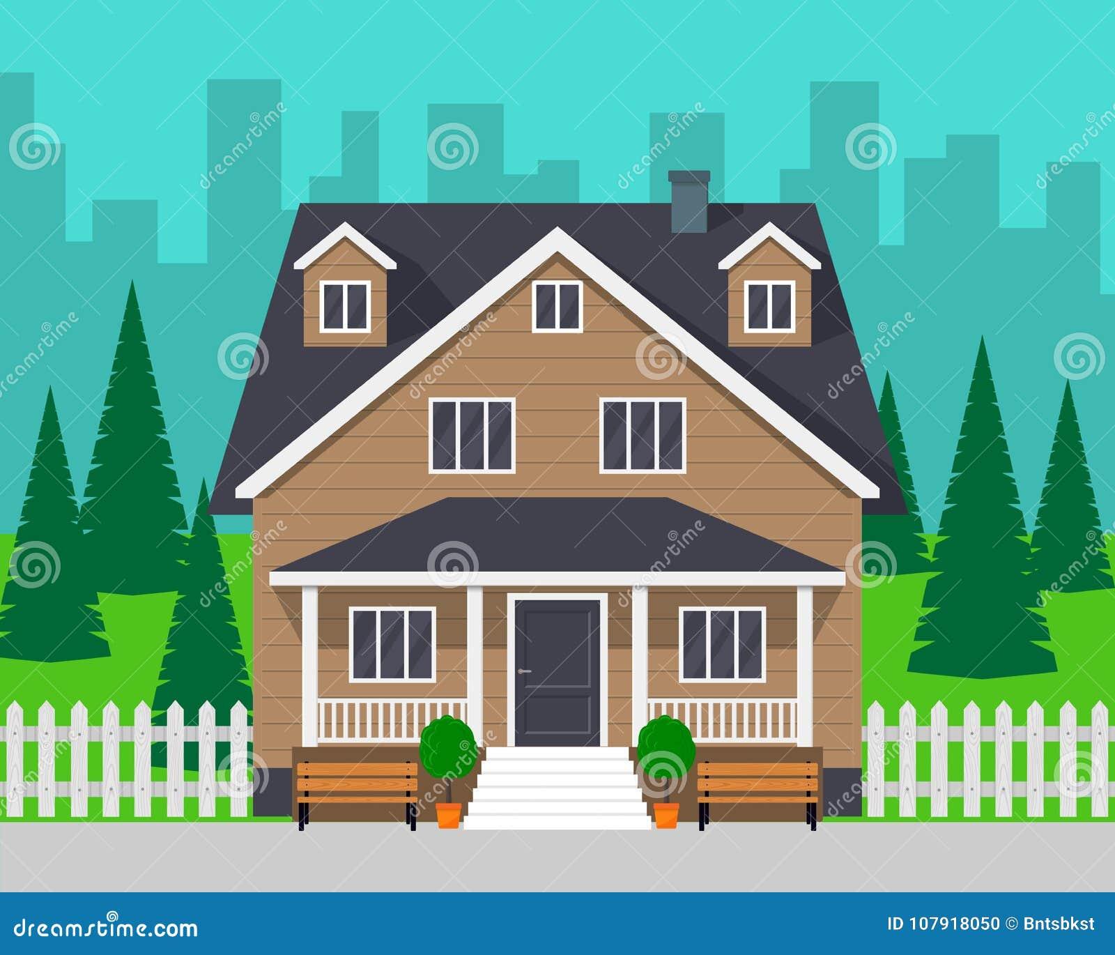有树和路的经典村庄房子 私有房子和城市背景的 传染媒介例证,平的样式
