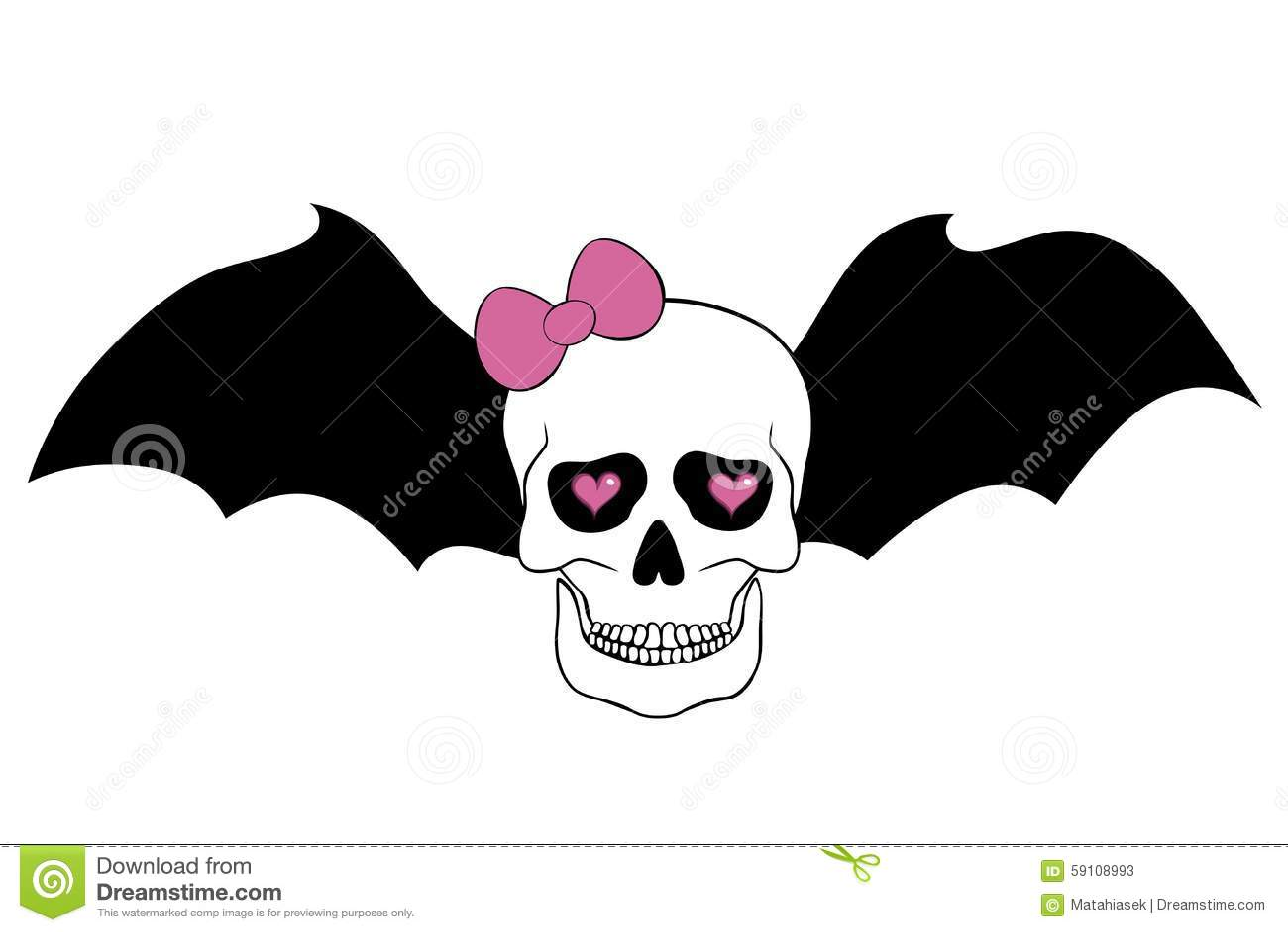 有桃红色弓、棒翼和心脏的头骨在眼球孔