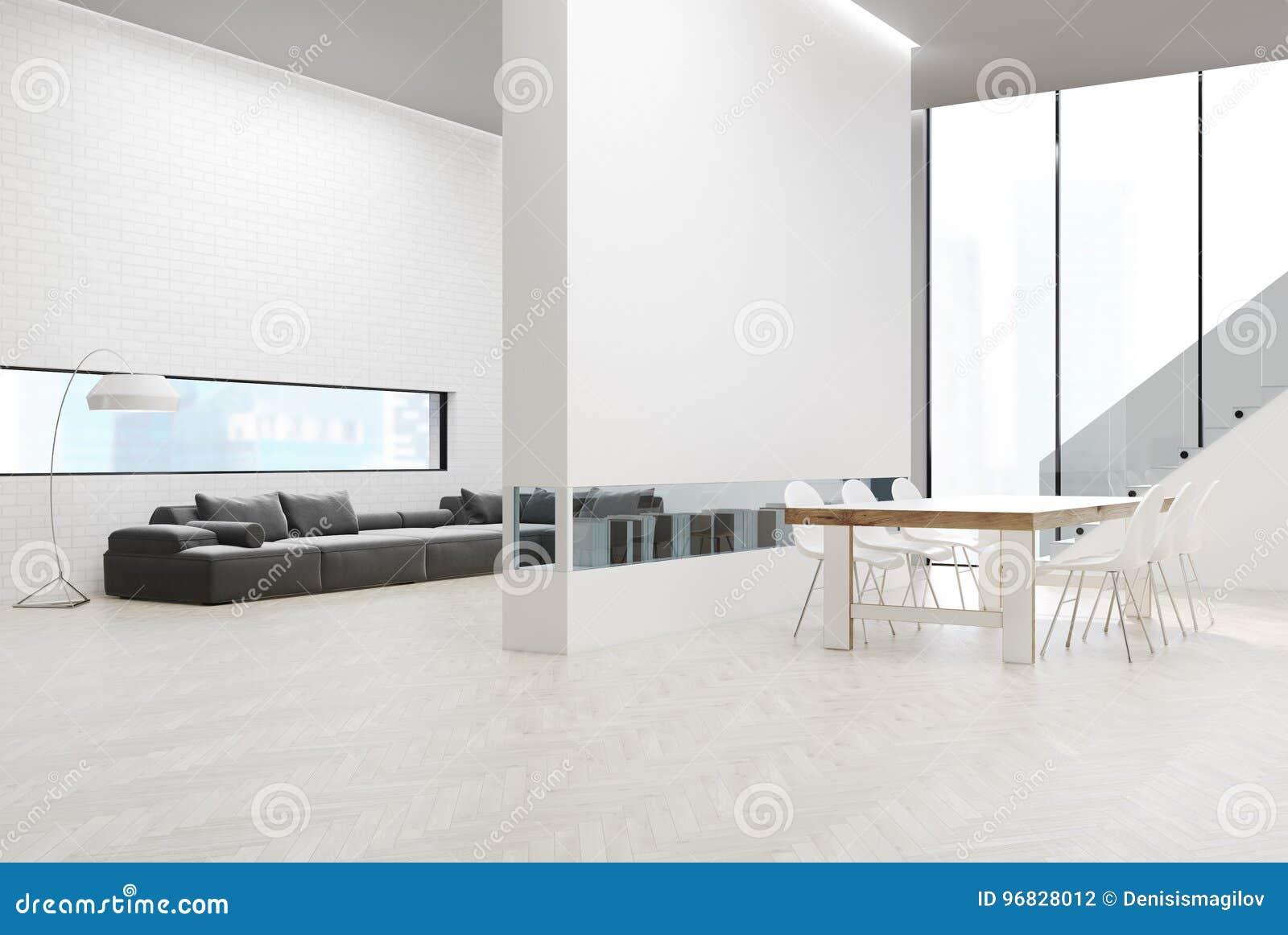 有桌的灰色沙发客厅