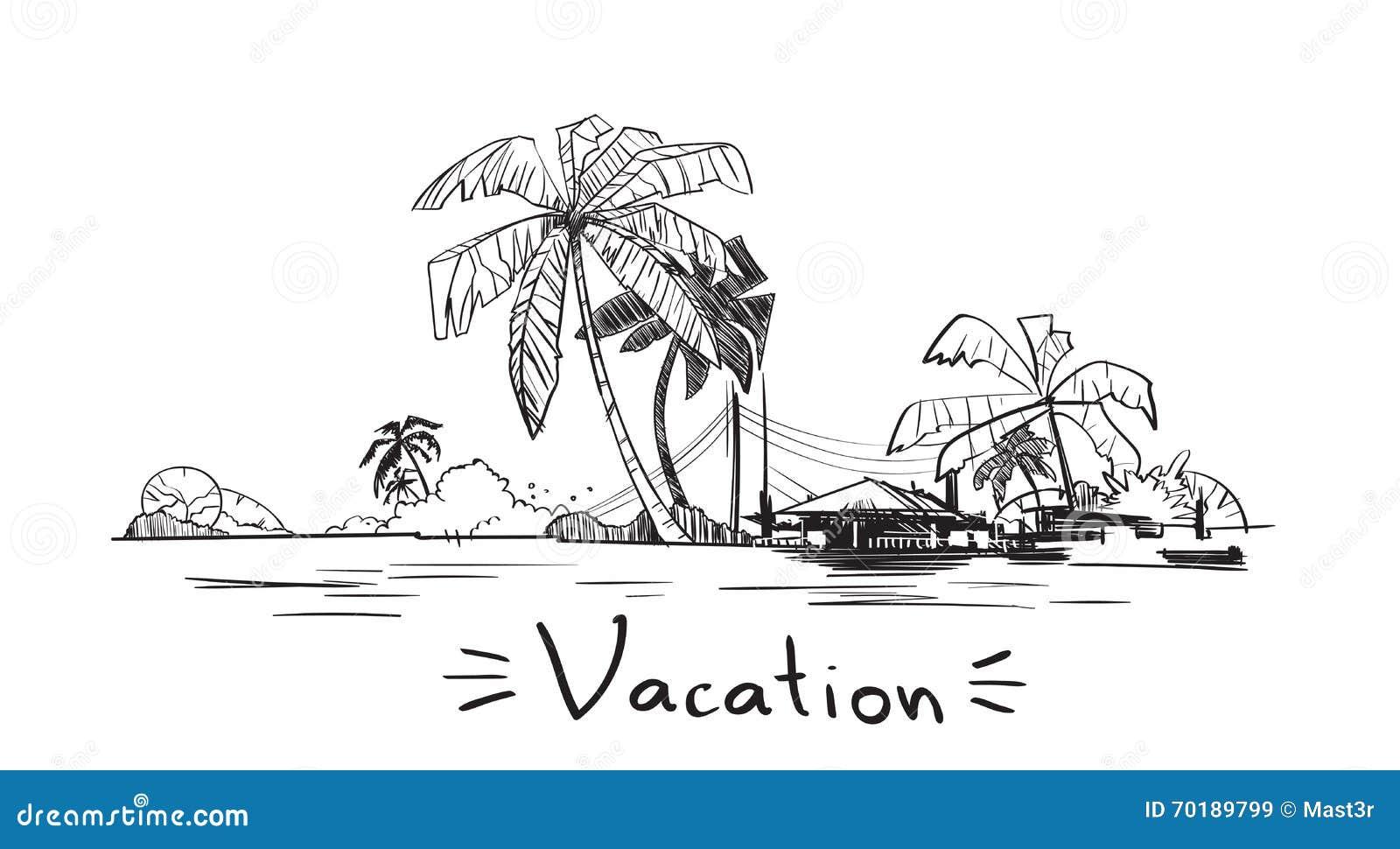 有棕榈树传染媒介例证的暑假假日热带海洋海岛.图片