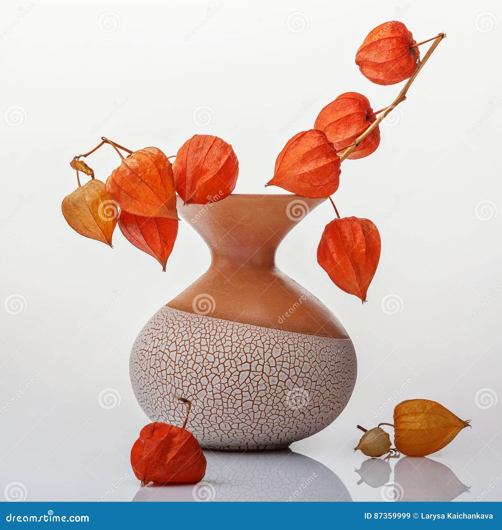有橙色花的花瓶
