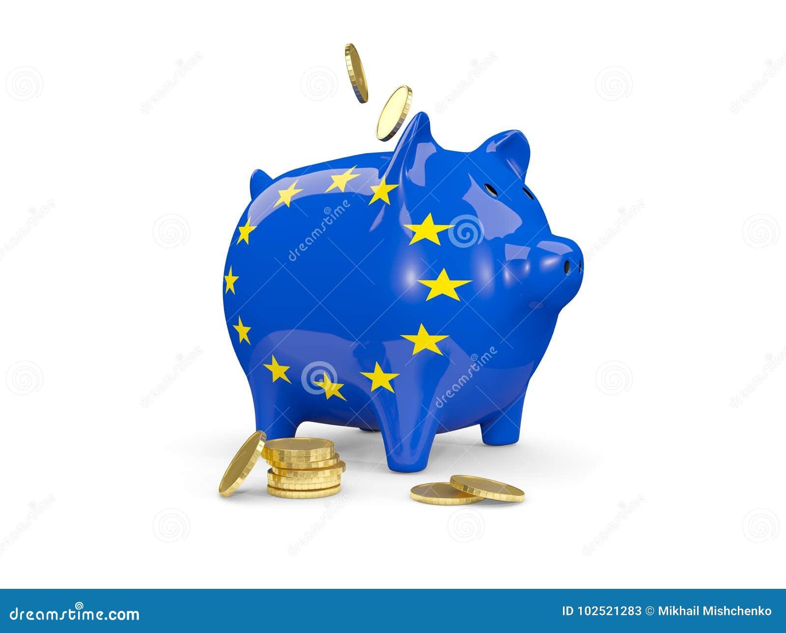 有欧盟旗子的肥胖存钱罐