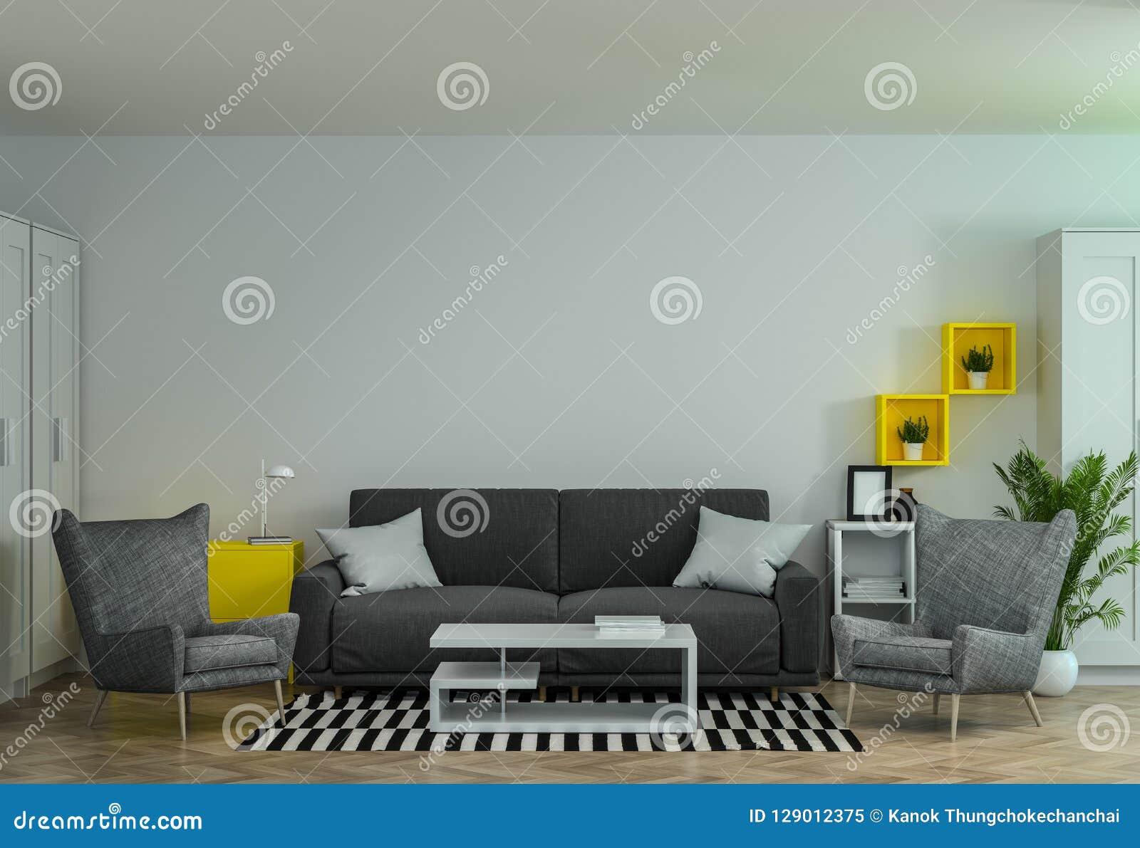 有沙发和扶手椅子3d翻译公共汽车的现代内部办公室候选会议地点co工作环境装饰客厅休息室