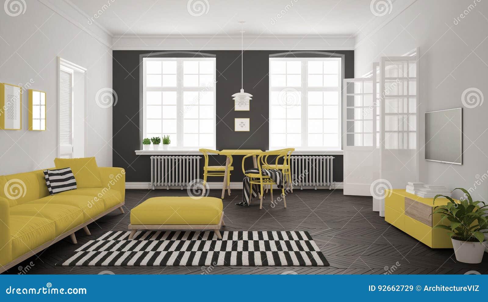 有沙发和餐桌的, scandi明亮的最低纲领派客厅