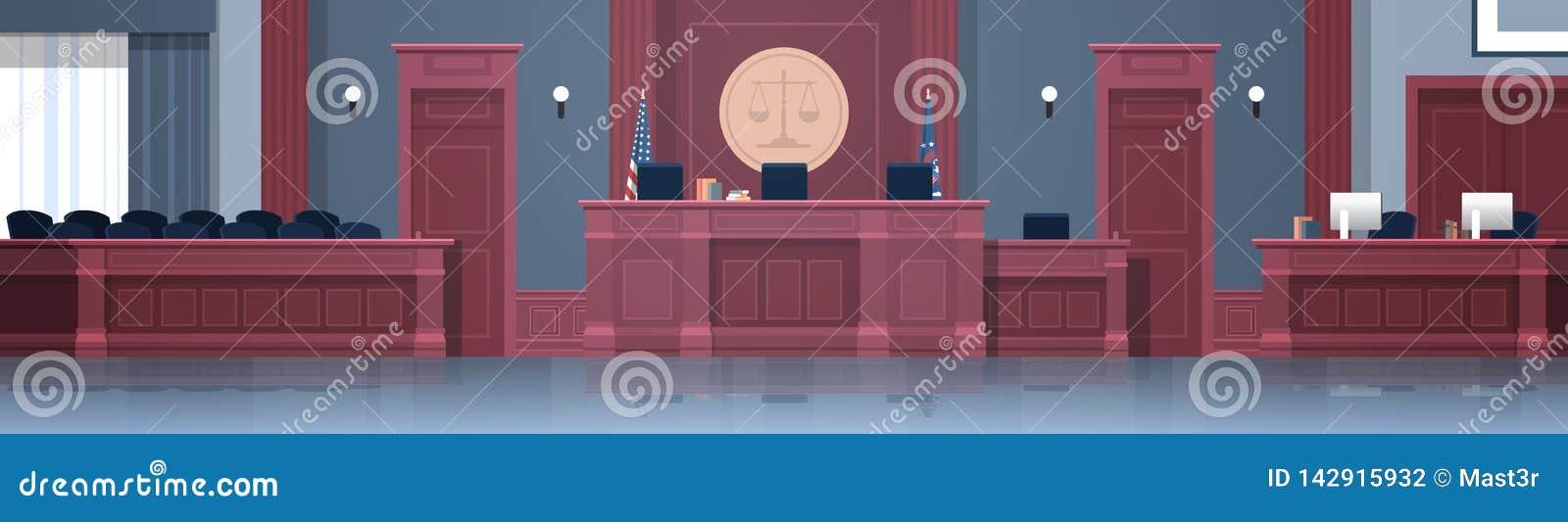 有法官和秘书工作场所陪审团位子现代法院大楼内部正义和法律学的空的法庭