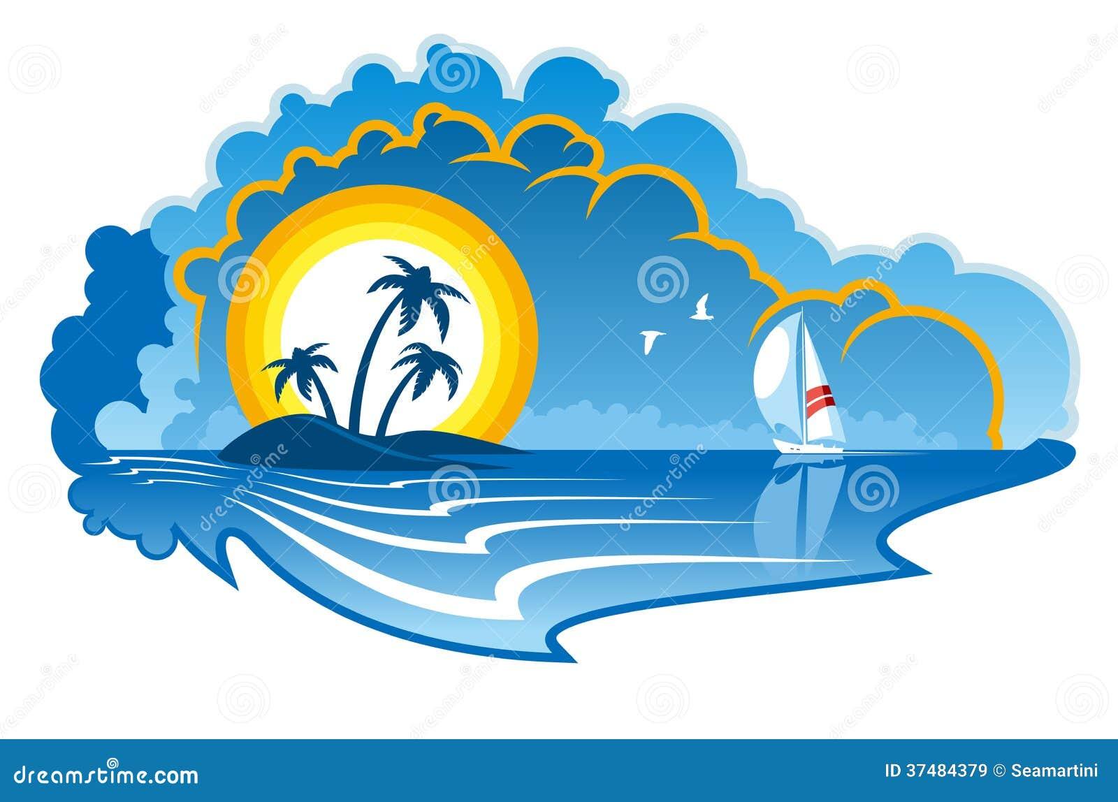 有游艇的田园诗热带海岛