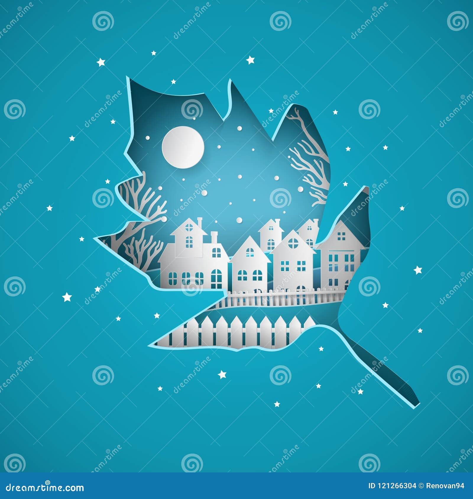有满月的冬天雪都市乡下风景城市村庄