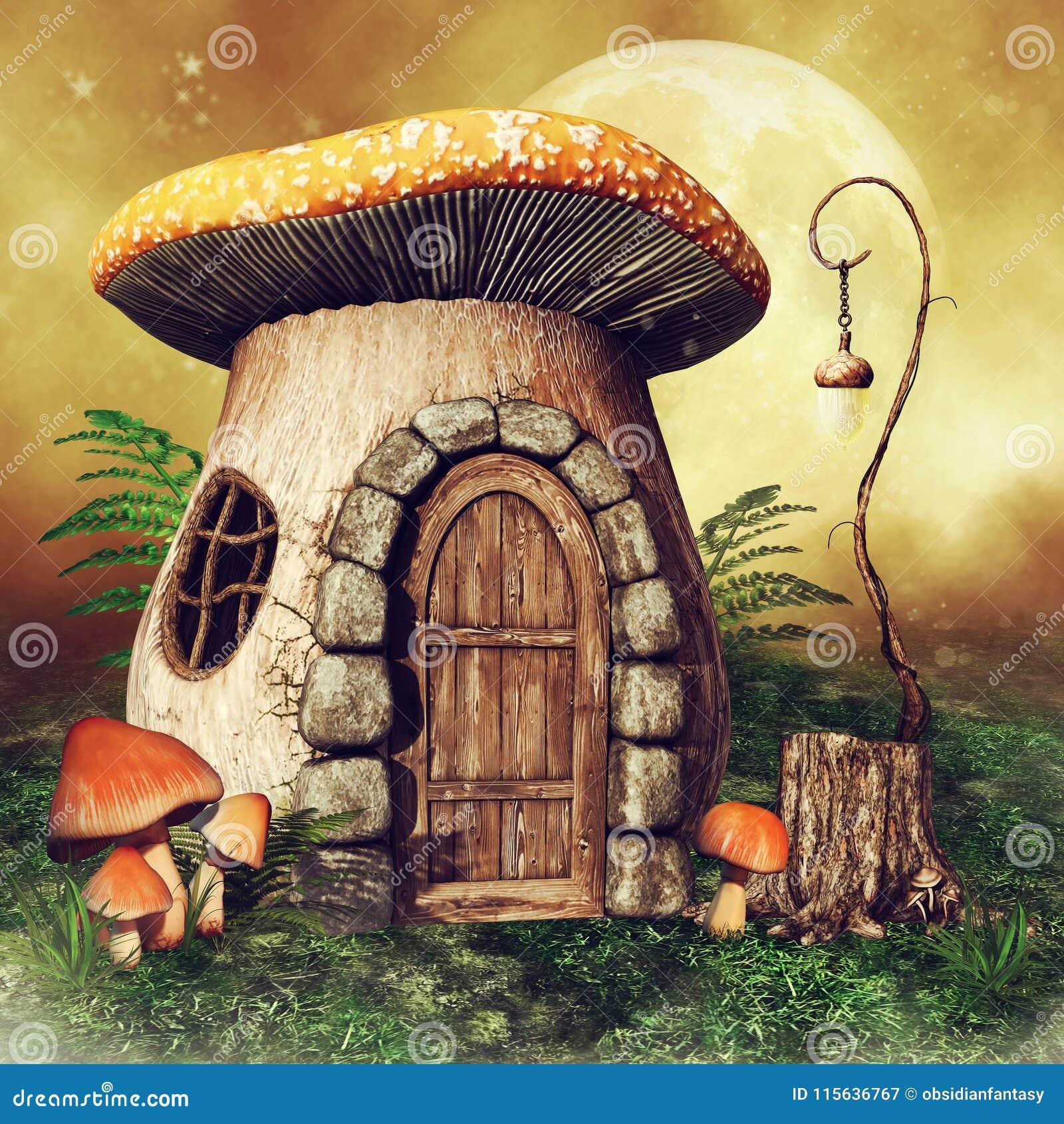 有灯笼的小的蘑菇房子