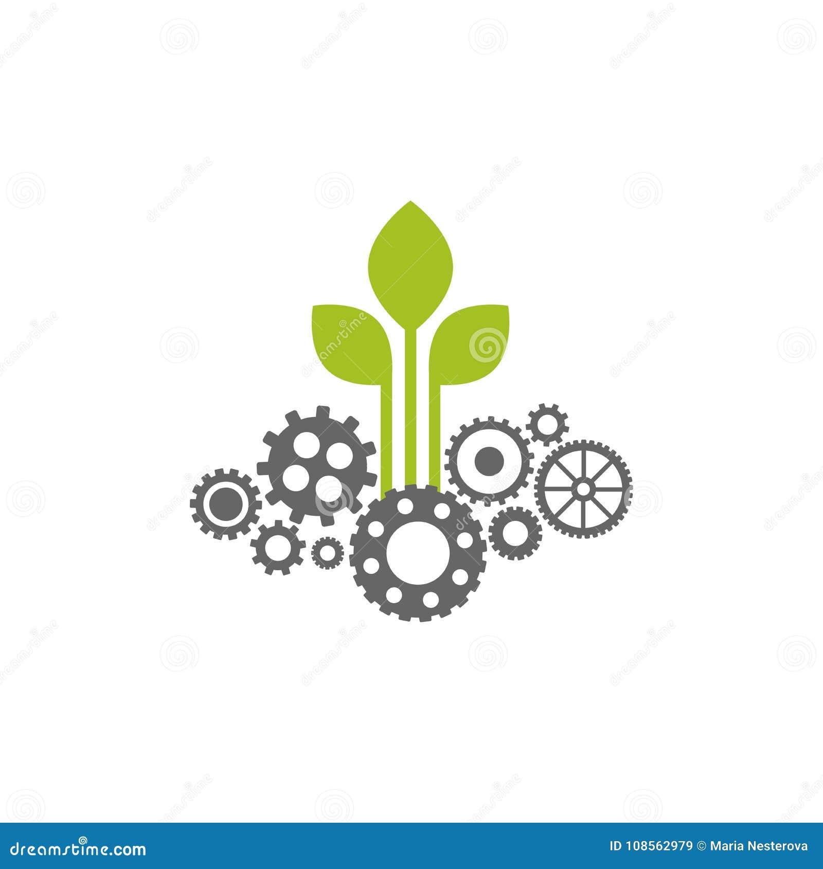 有灰色壁虱象的绿色齿轮 技术或创新的传染媒介平的例证