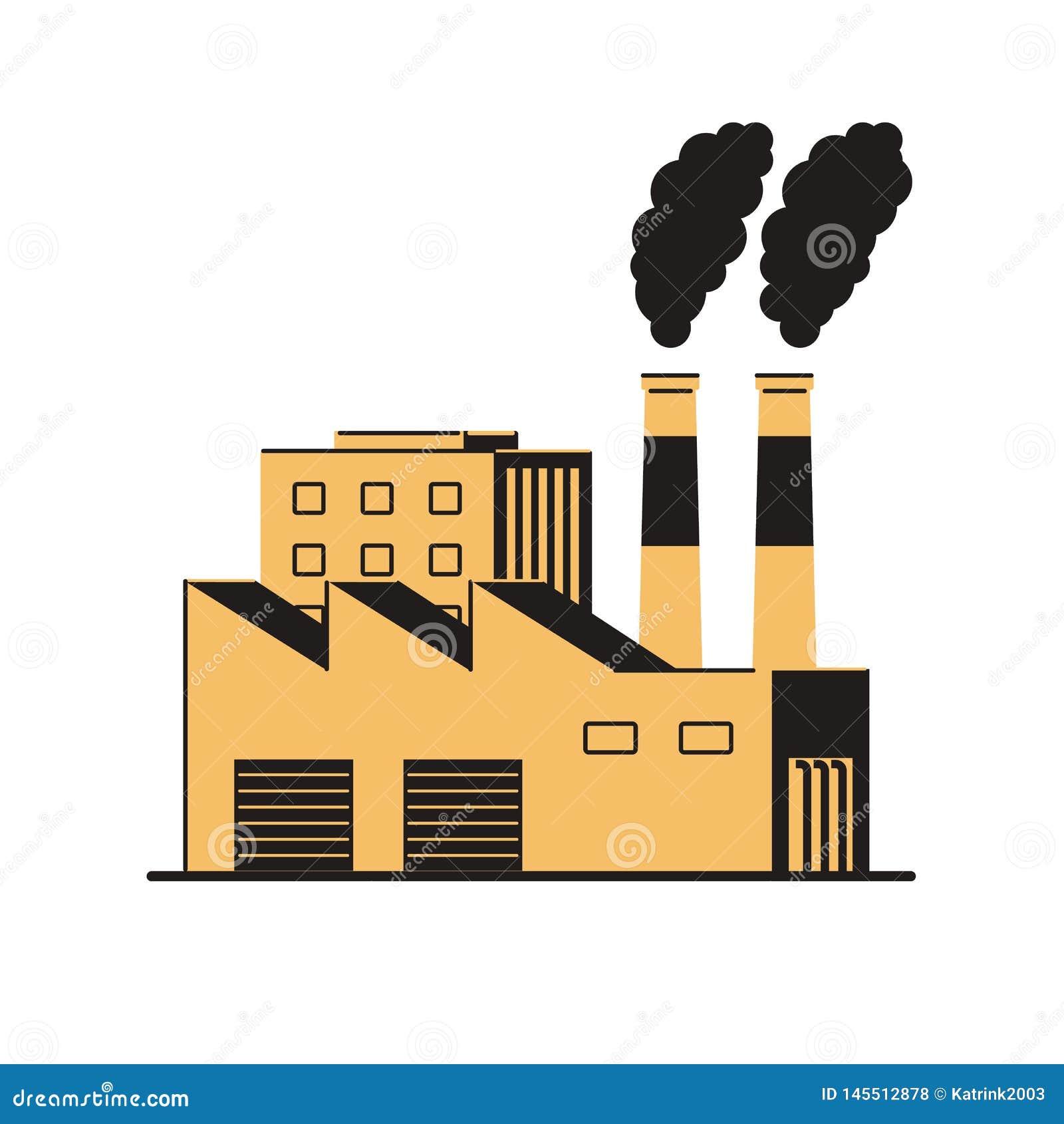 有烟斗的工厂在白色背景