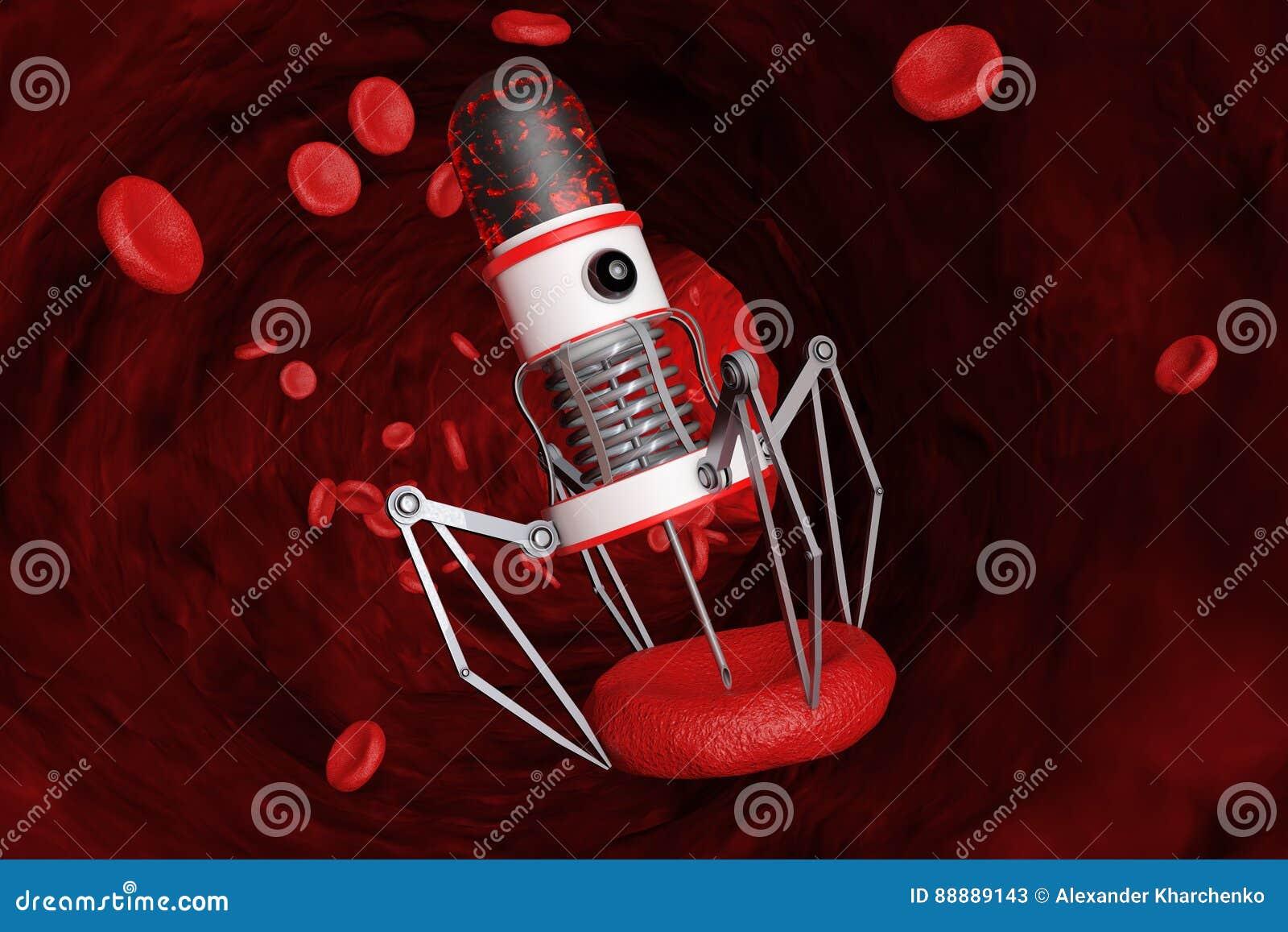 有照相机、爪和针的血液纳诺机器人在血细胞