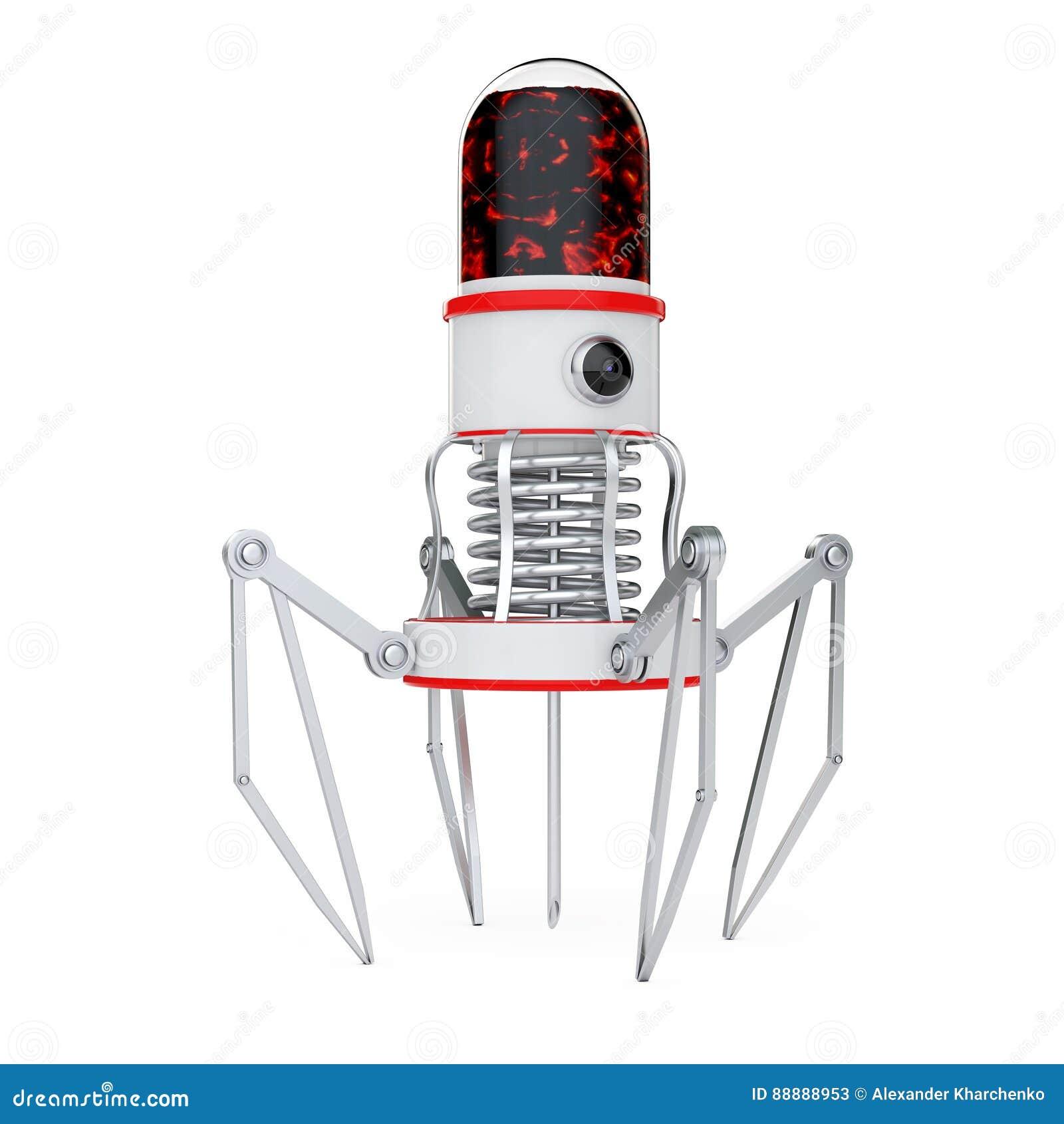 有照相机、爪和针的血液纳诺机器人 3d翻译