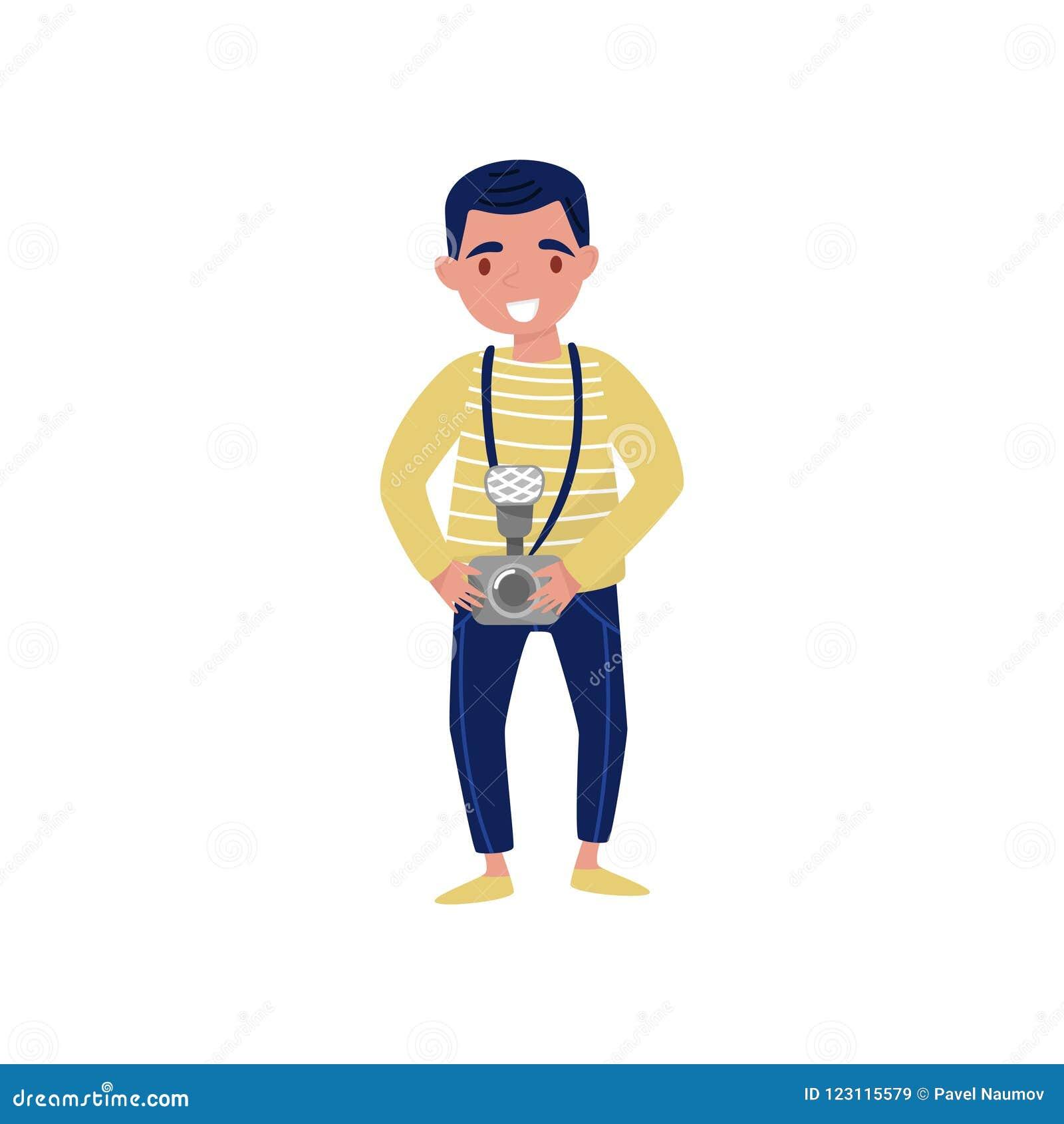 有照相机的年轻微笑的人在手中 专业工作 摄影记者平的传染媒介设计漫画人物
