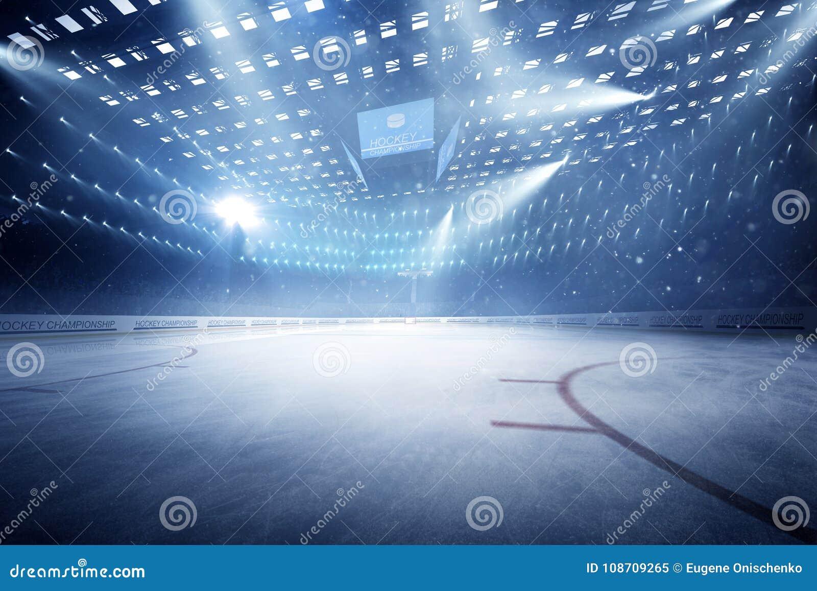 有爱好者的曲棍球体育场拥挤和一个空的滑冰场