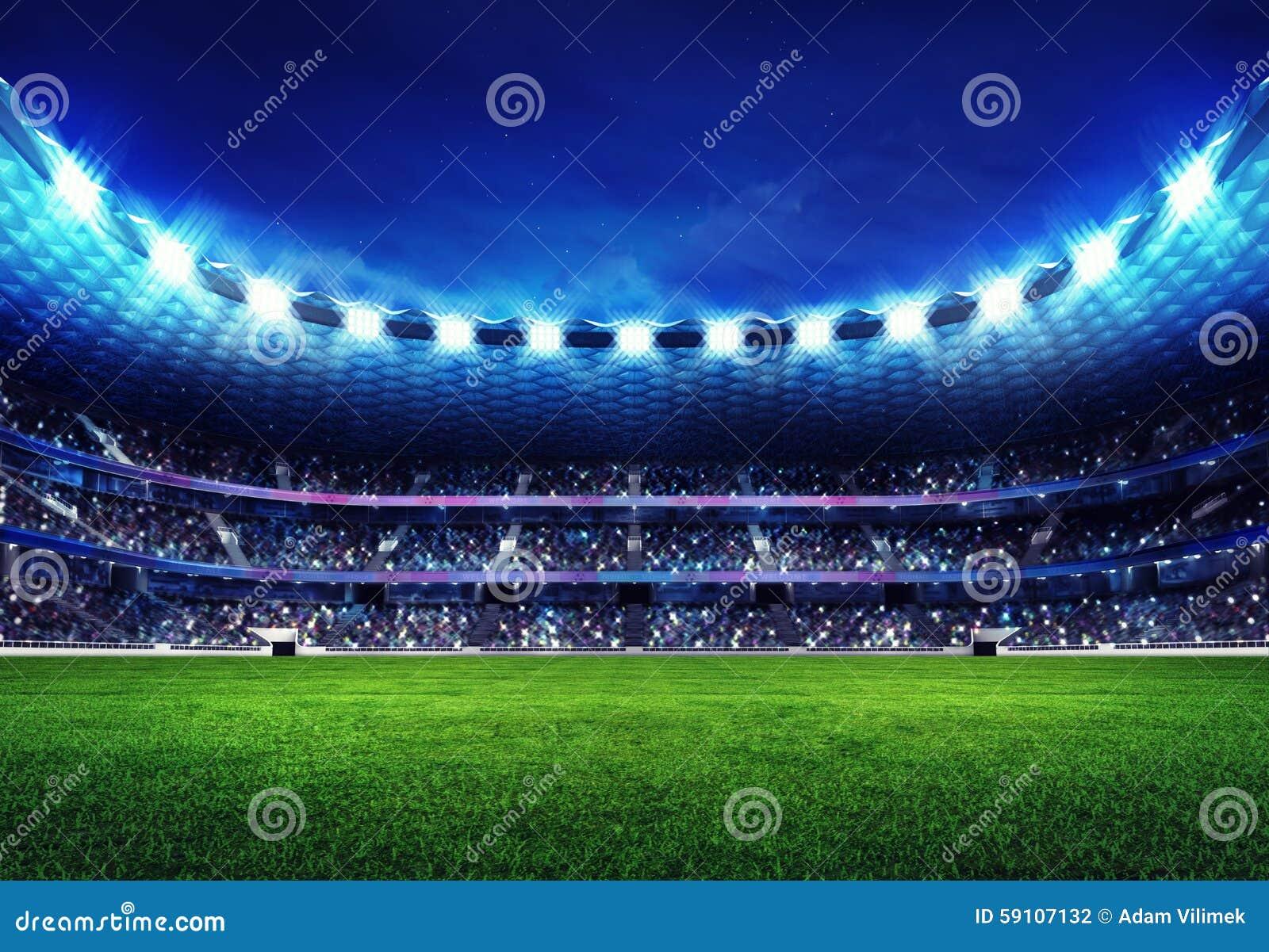 有爱好者的现代橄榄球场在立场