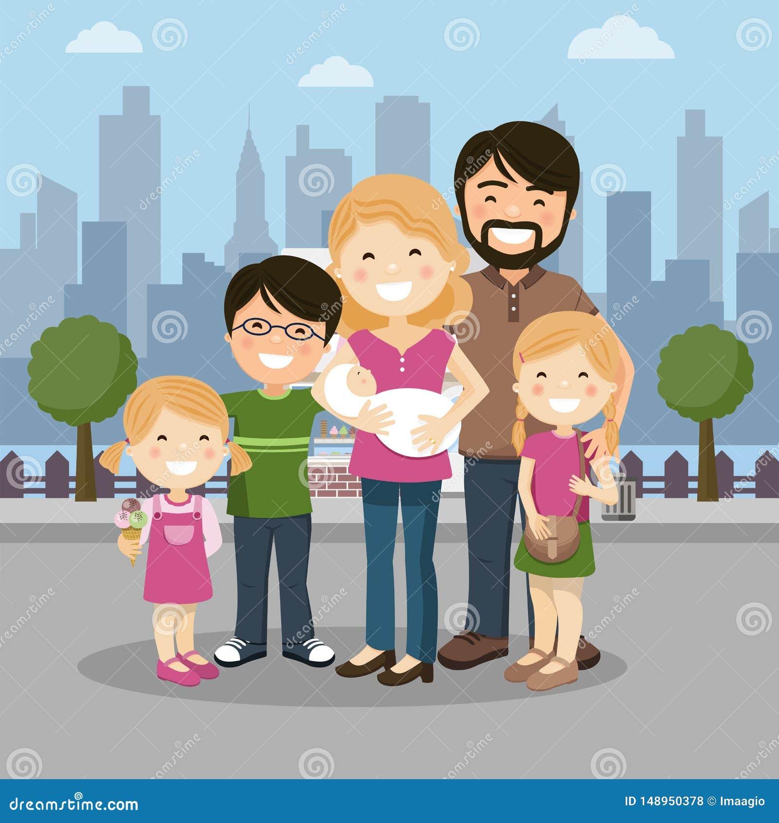 有父母、三个孩子和babyborn的幸福家庭在城市