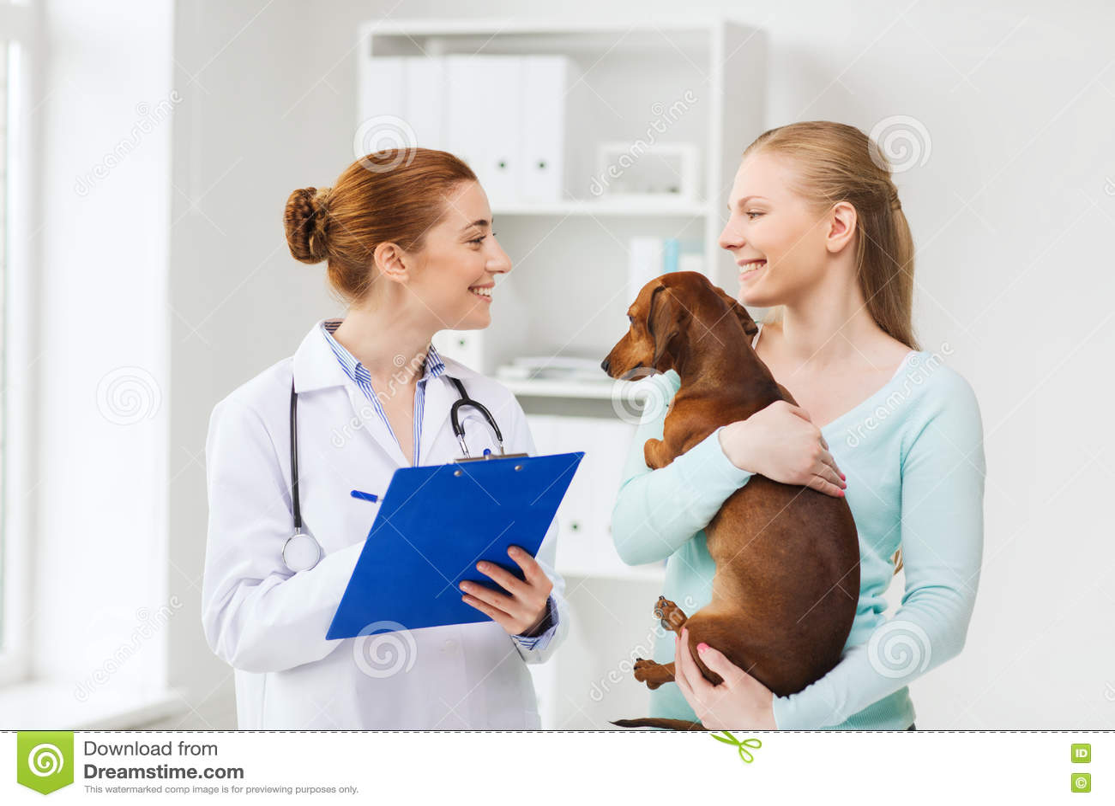 有狗和医生的愉快的妇女狩医诊所的