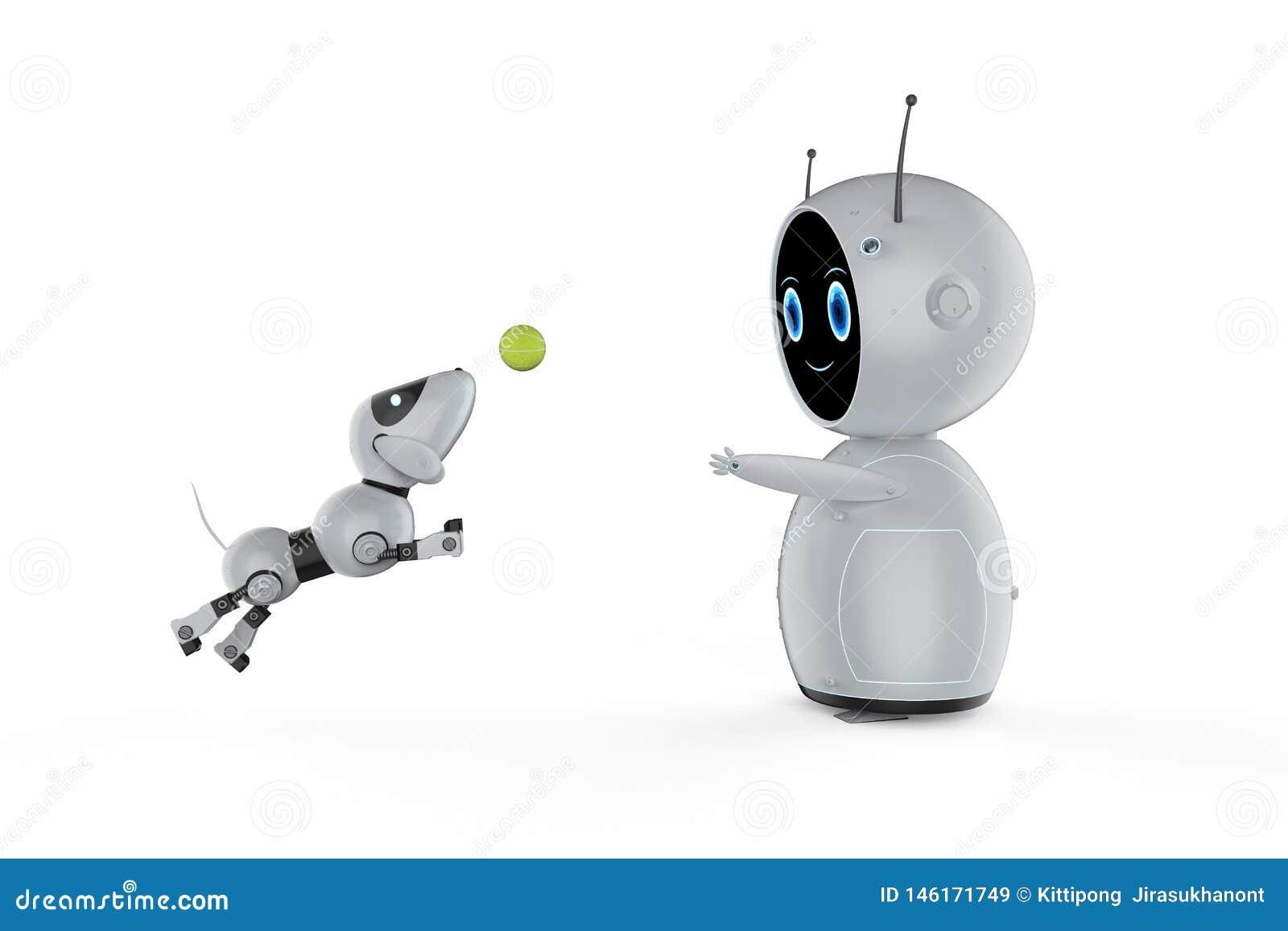 有狗机器人的逗人喜爱的机器人